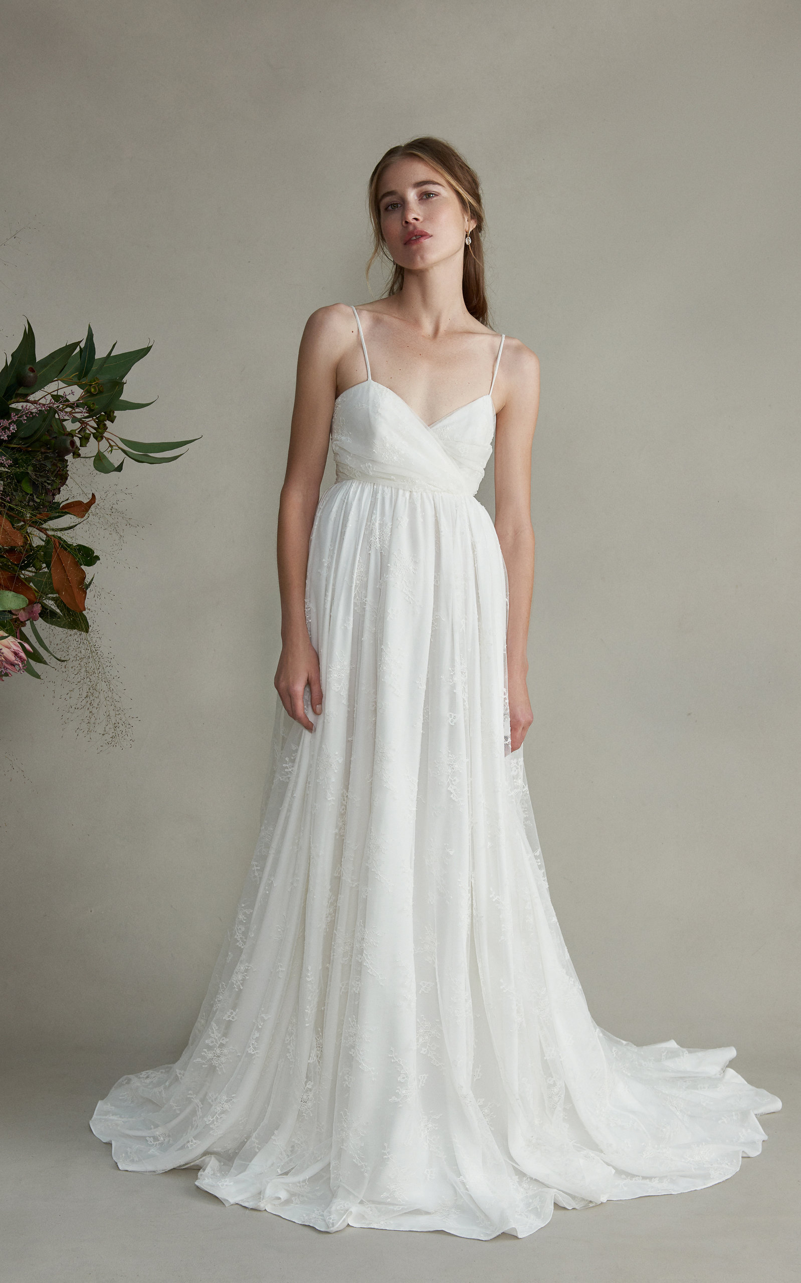 MARKARIAN Josephine Silk Sweetheart Lace Gown in White