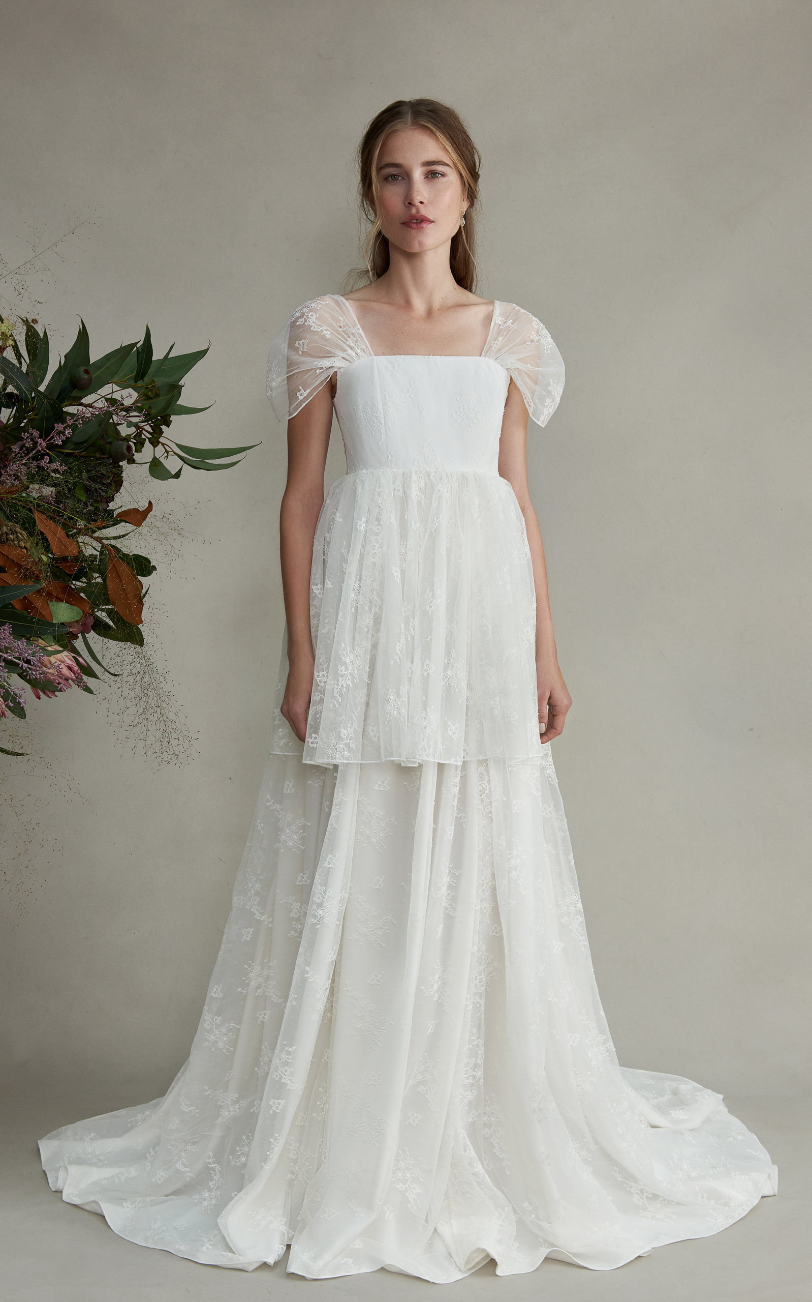 MARKARIAN Aurora Silk Tiered Dress With Draped Lace Sleeves in White