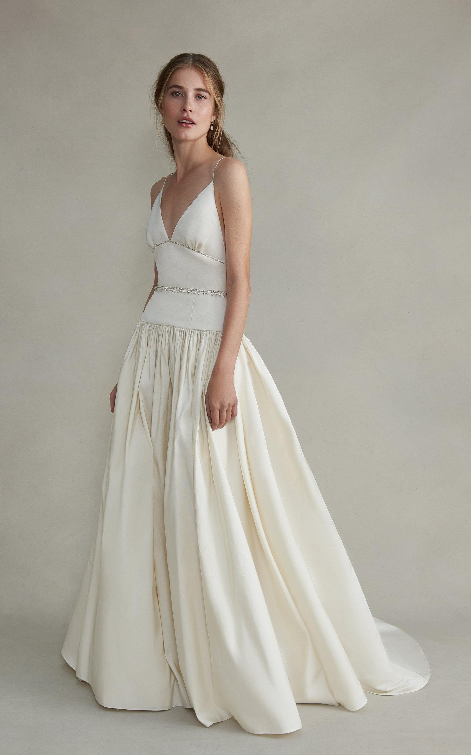 MARKARIAN Jasmine V-Neck Jeweled Silk Gathered Gown in White