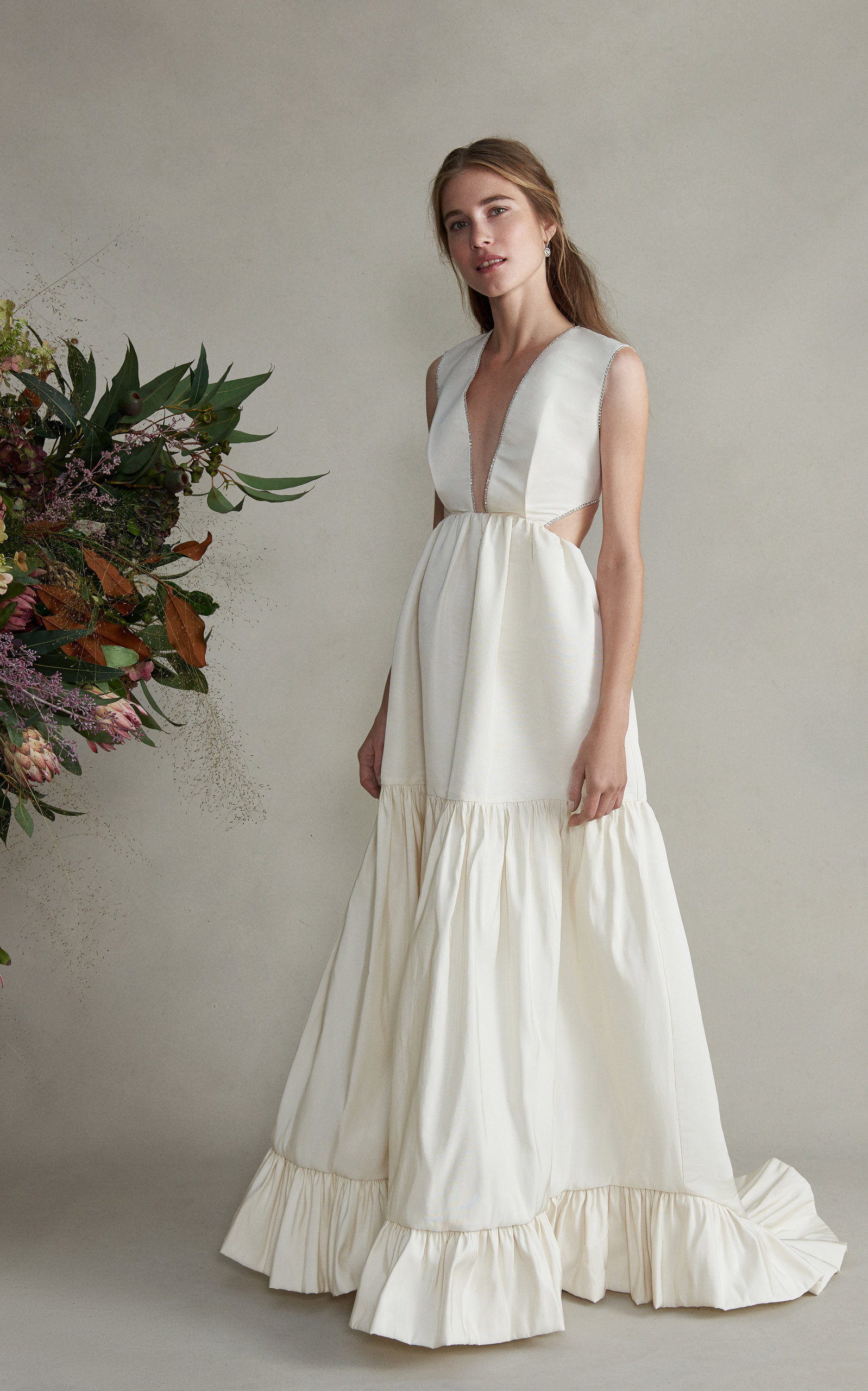 MARKARIAN Guinevere Sleeveless Cut Out Silk Gown in White