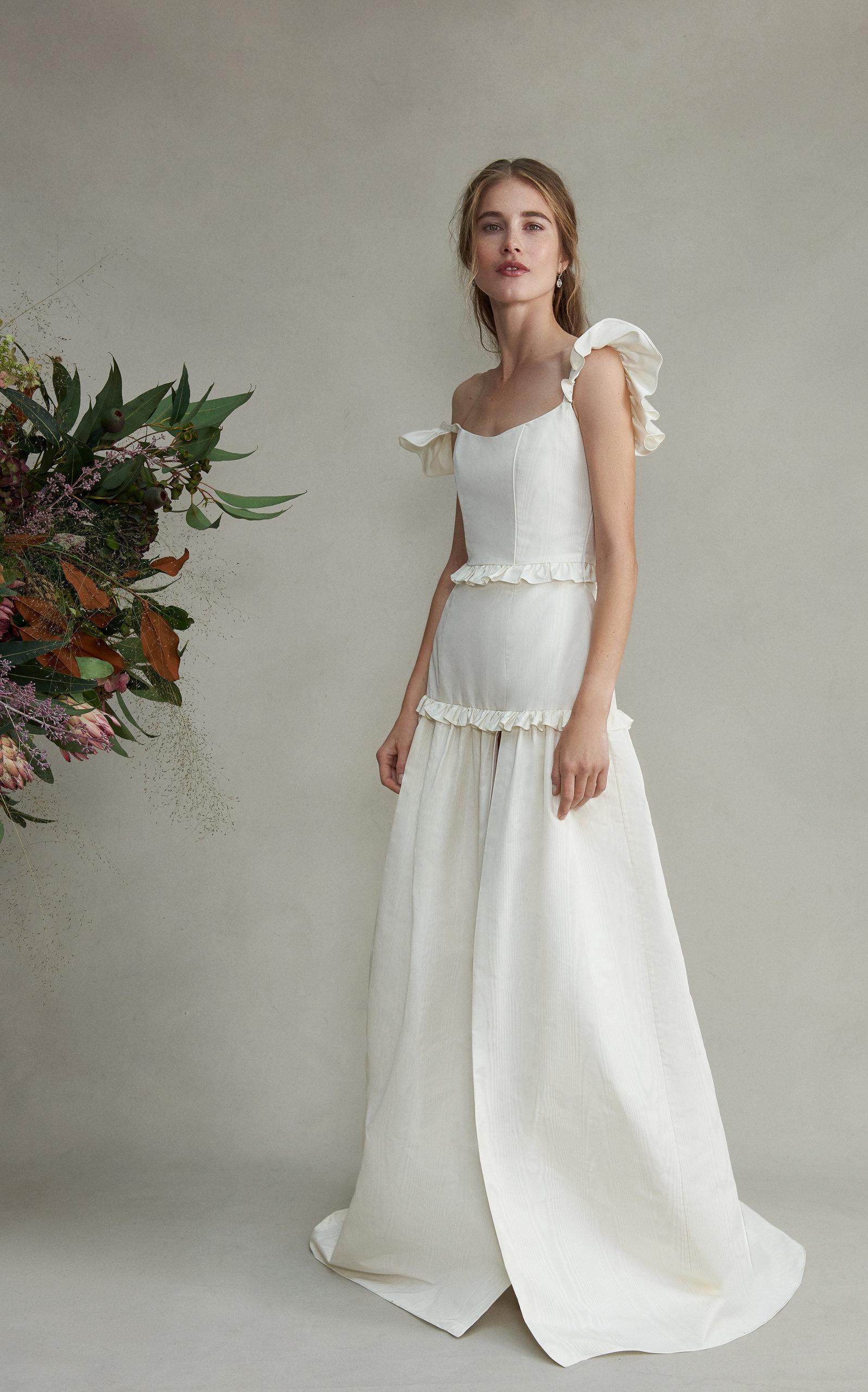 MARKARIAN Arabella Silk Ruffle Gown With Leg Slit in White