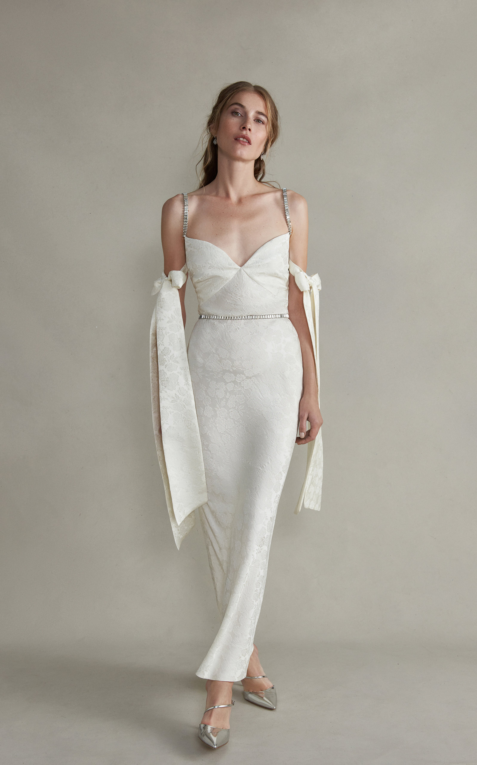MARKARIAN Rhett Jeweled Cami Strap Dress With Arm Bow Detail in White