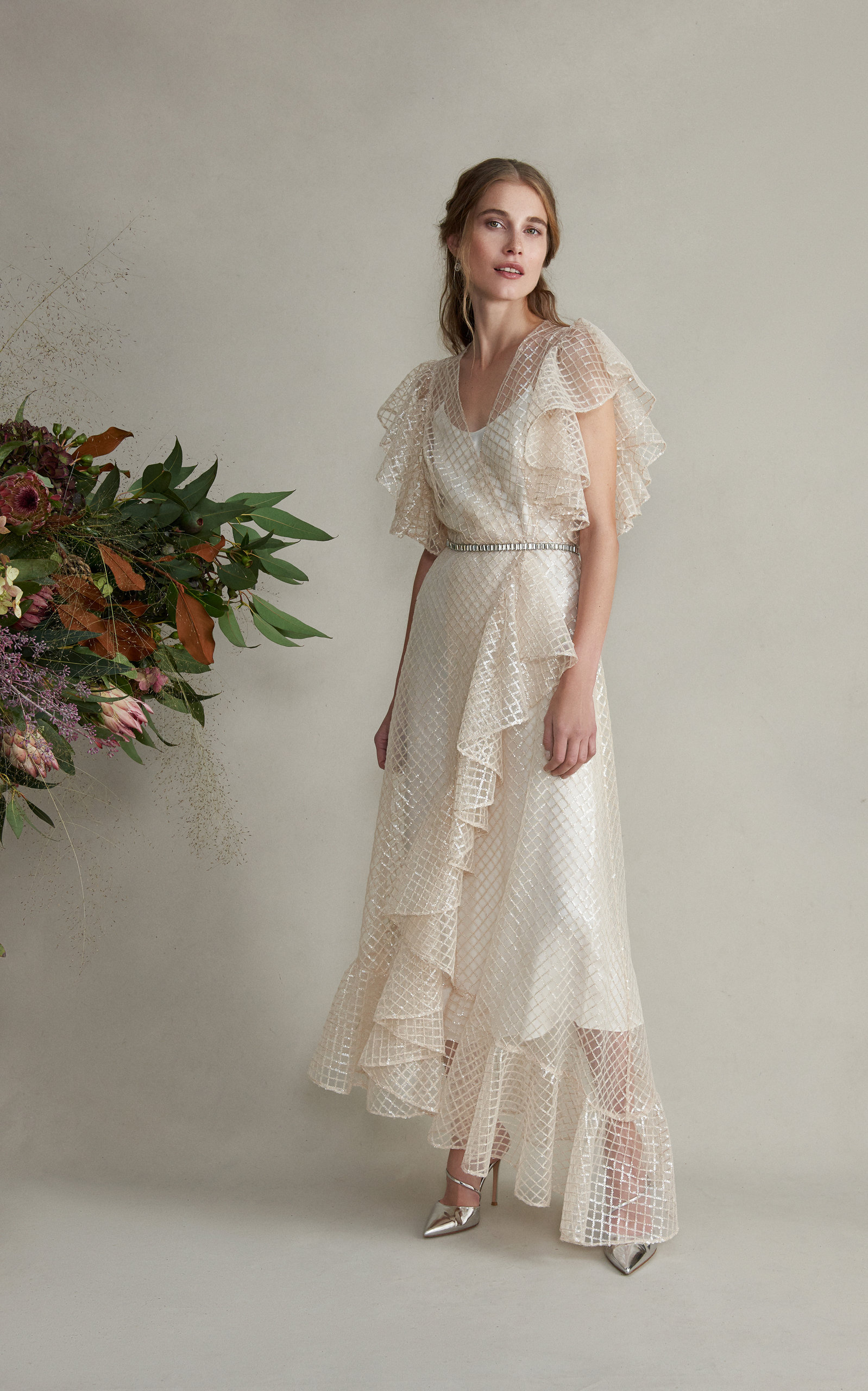 MARKARIAN Lancelot Gridded Lace Dress With Ruffle Sleeve And Hem in White