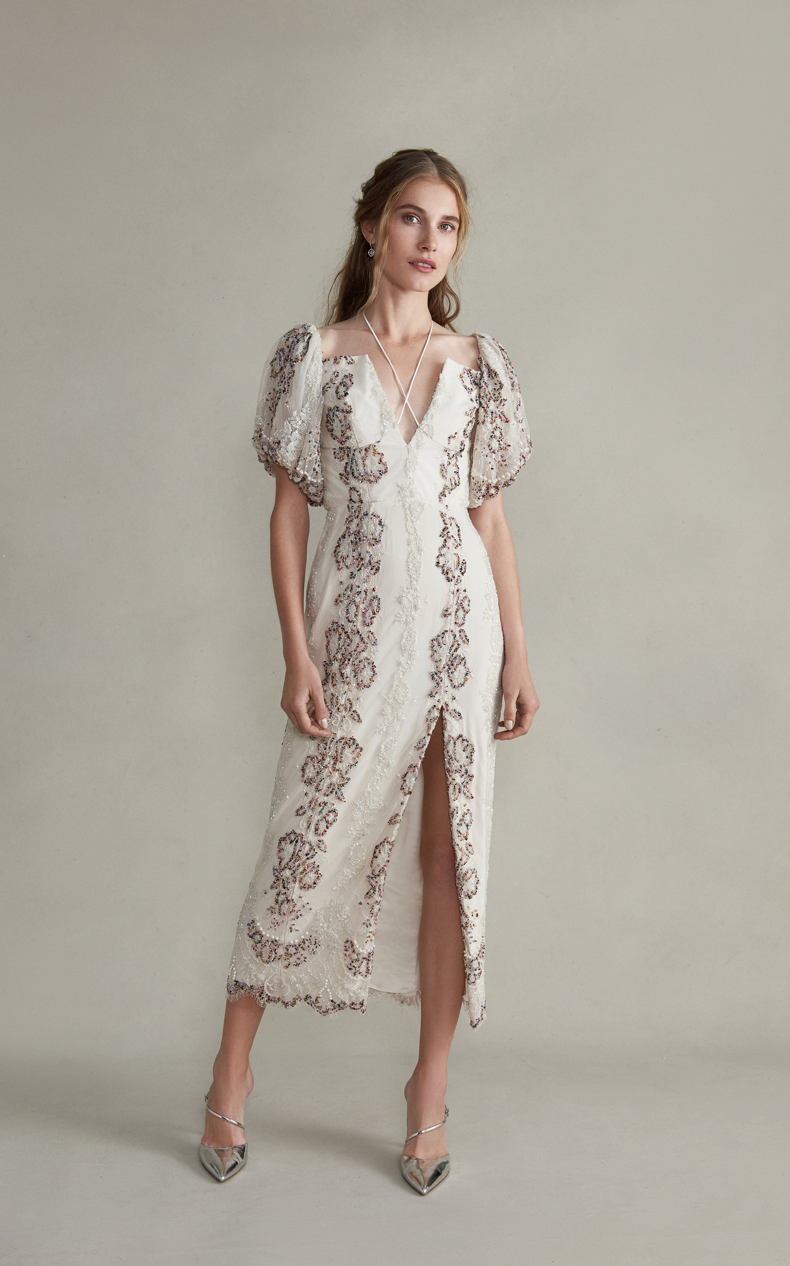 MARKARIAN Hestia V-Neck Midi Embroidered Lace Dress With Front Slit in White