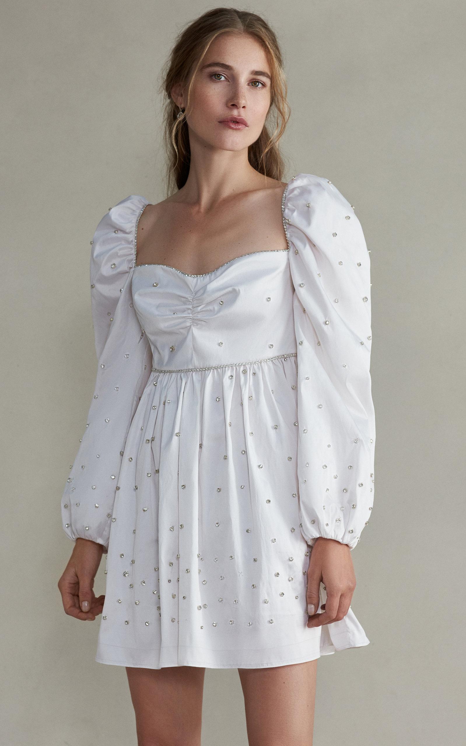 MARKARIAN Caspian Mini Silk Embellished Dress With Gathered Puff Sleeve in White