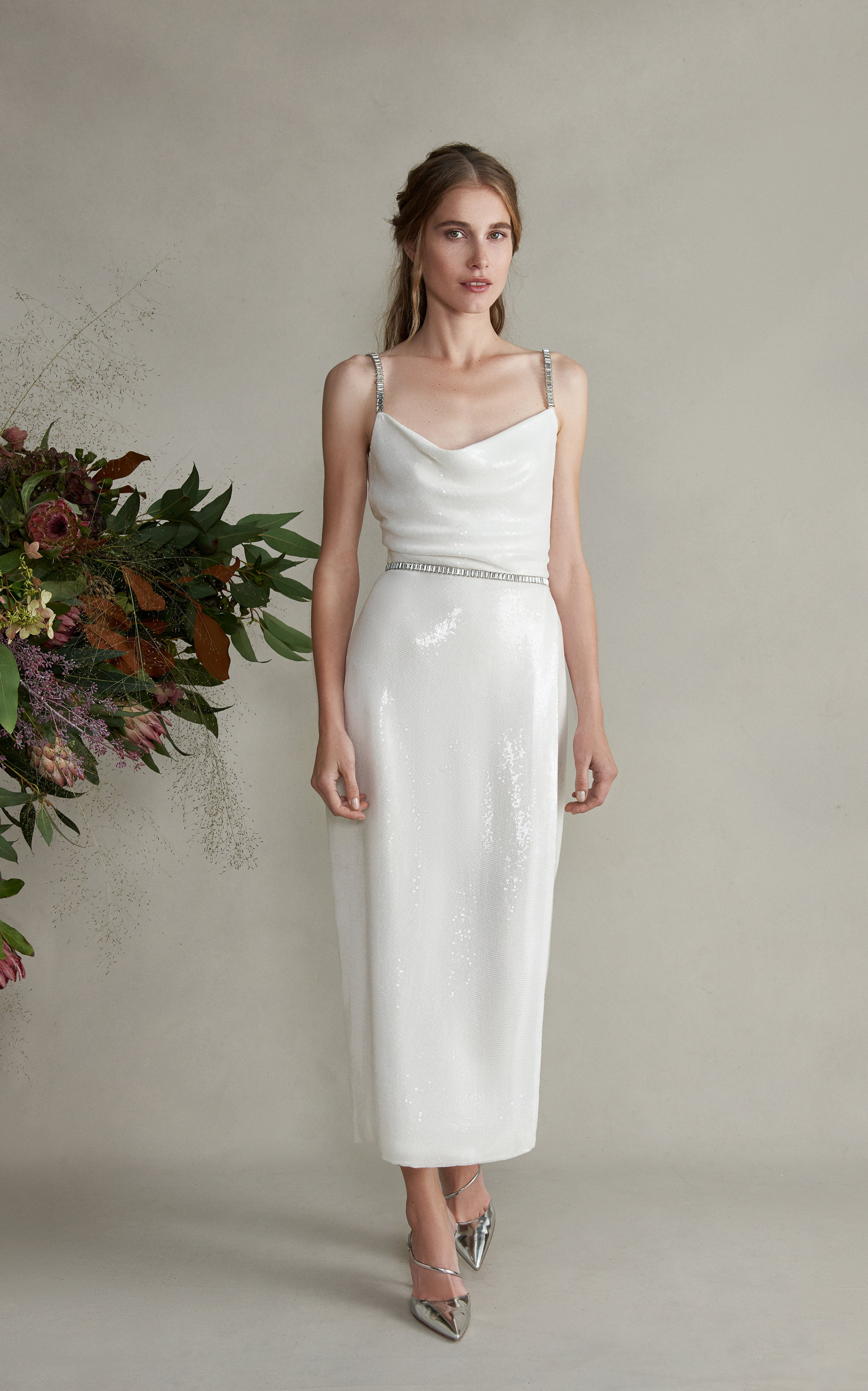 MARKARIAN Venus Fitted Jeweled Cami Tea Length Dress With Draped Neck in White