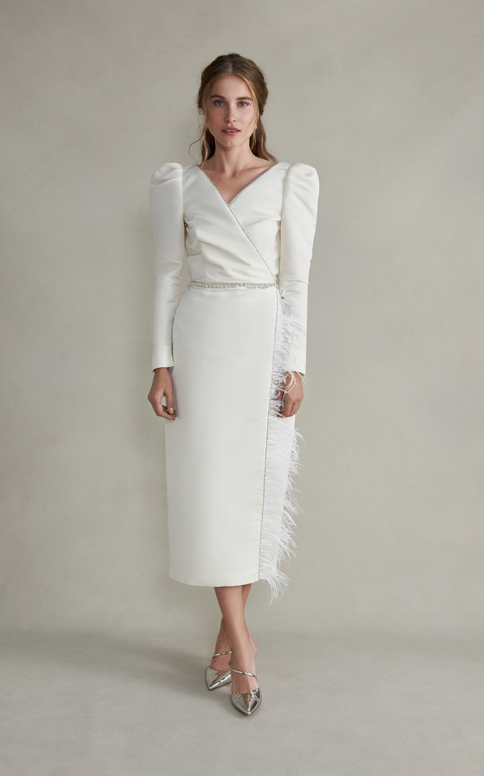 MARKARIAN Artemis Midi Sleeved Silk Crossover Dress With Feathers in White