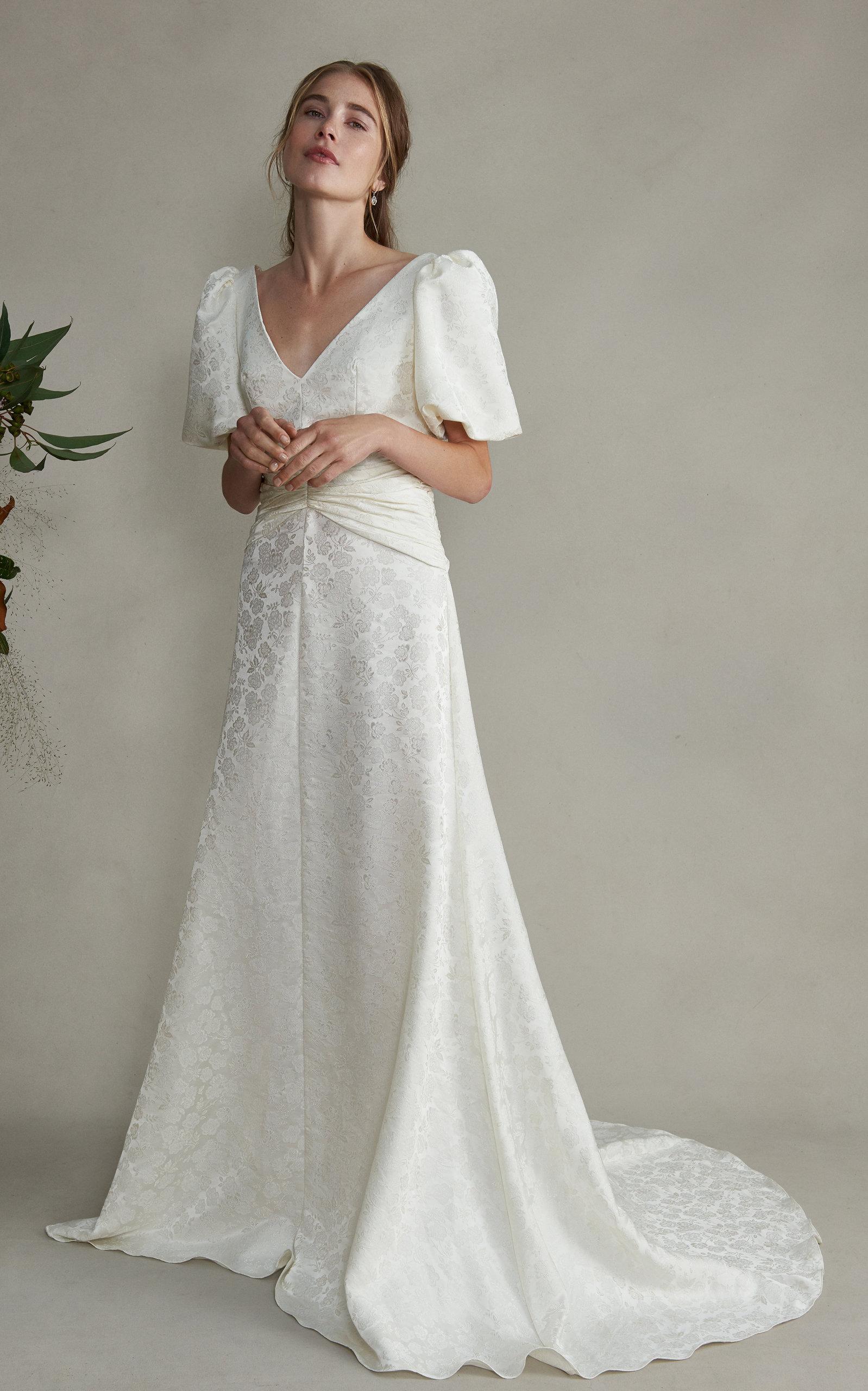 MARKARIAN Esmeralda V-Neck Silk Floral Dress With Train in White