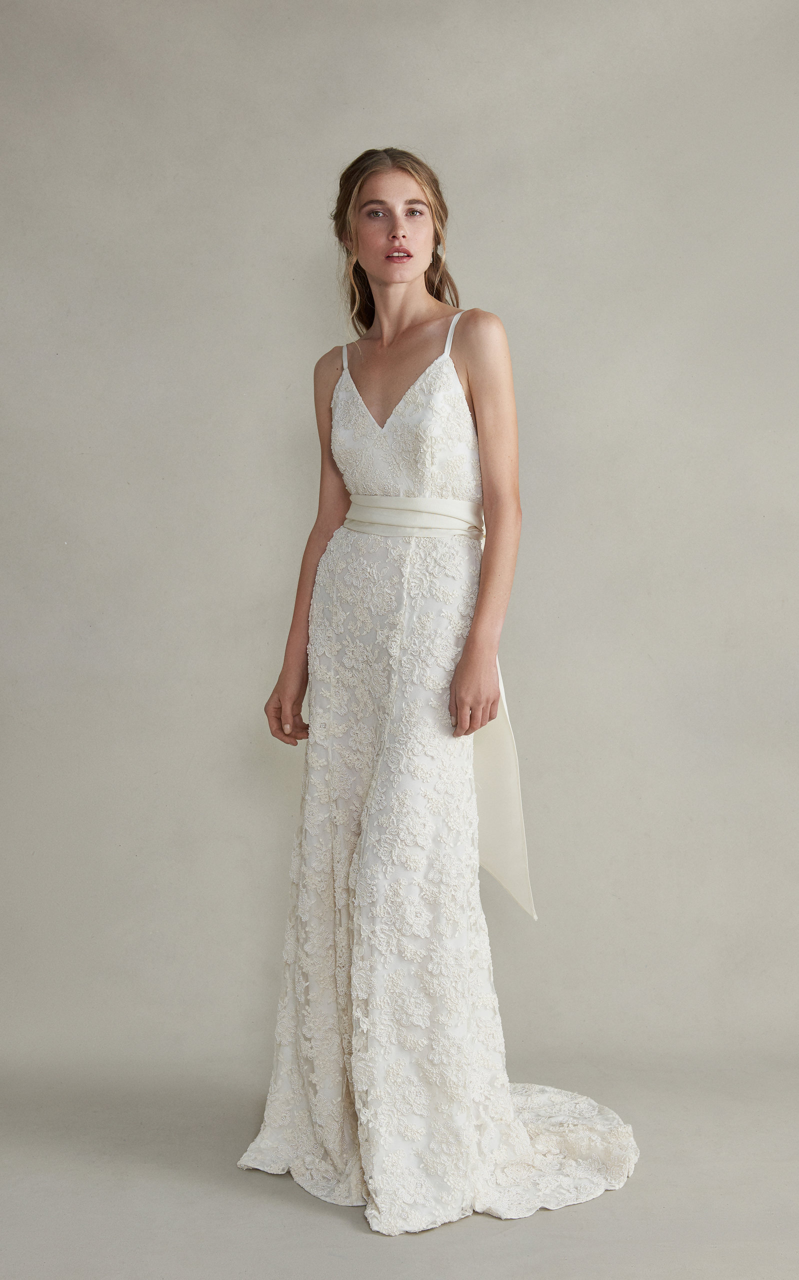 MARKARIAN Aurelia Cami V-Neck Lace Gown in White