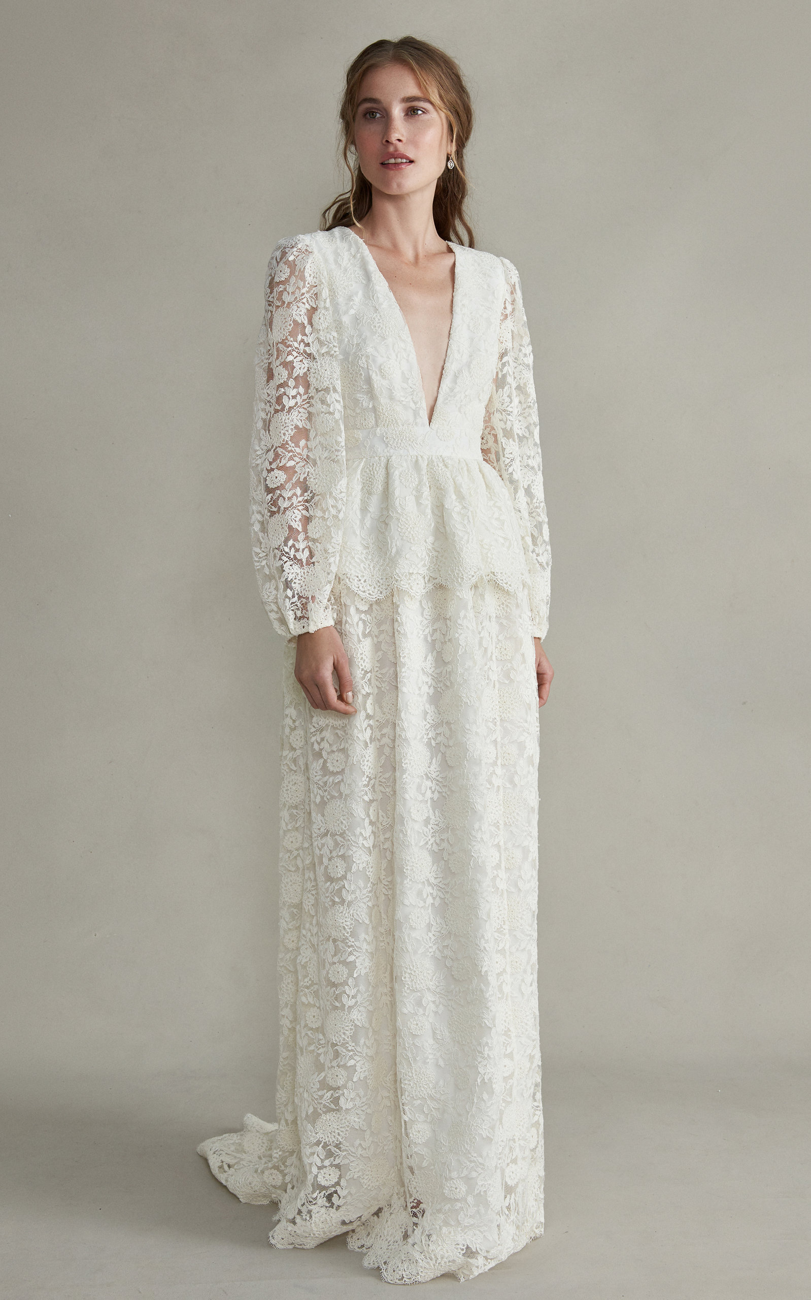 MARKARIAN Aphrodite V-Neck Silk Gown With Long Sleeves in White