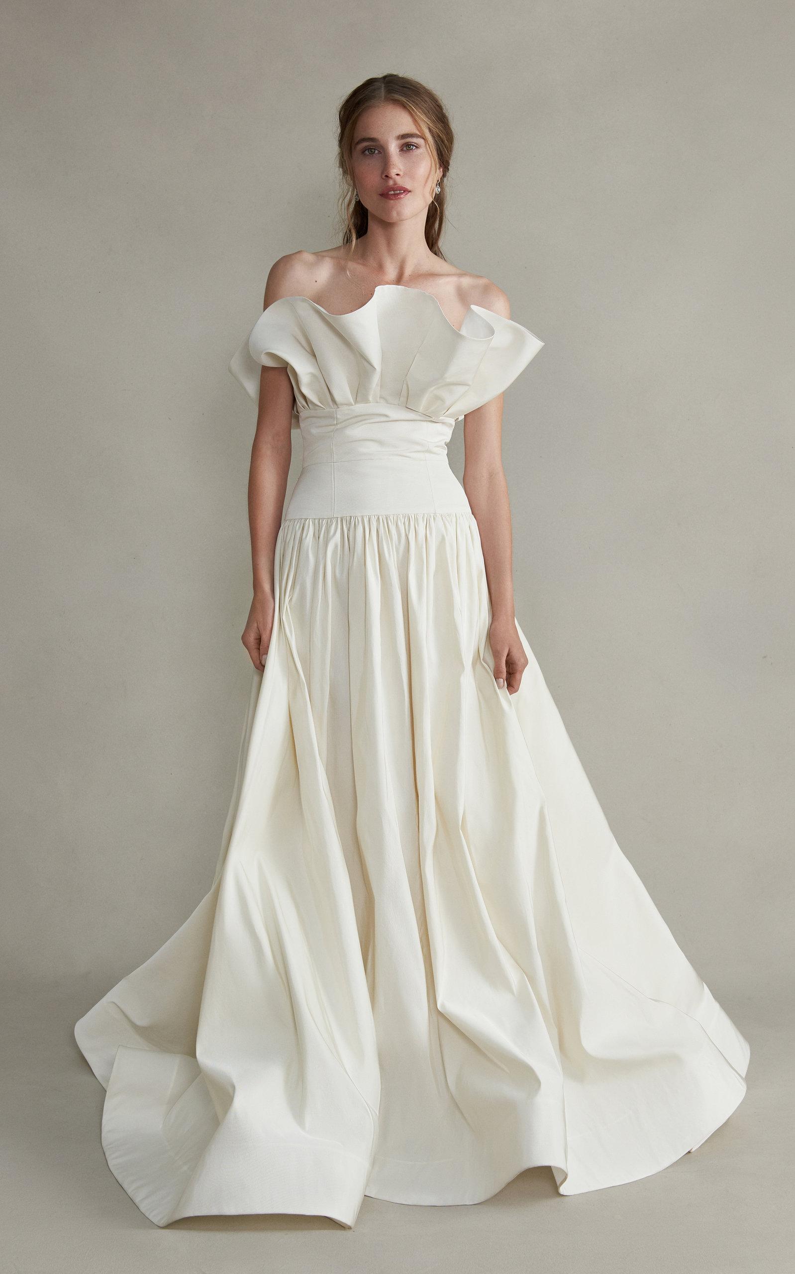 MARKARIAN Demeter Strapless Gathered Silk Gown in White