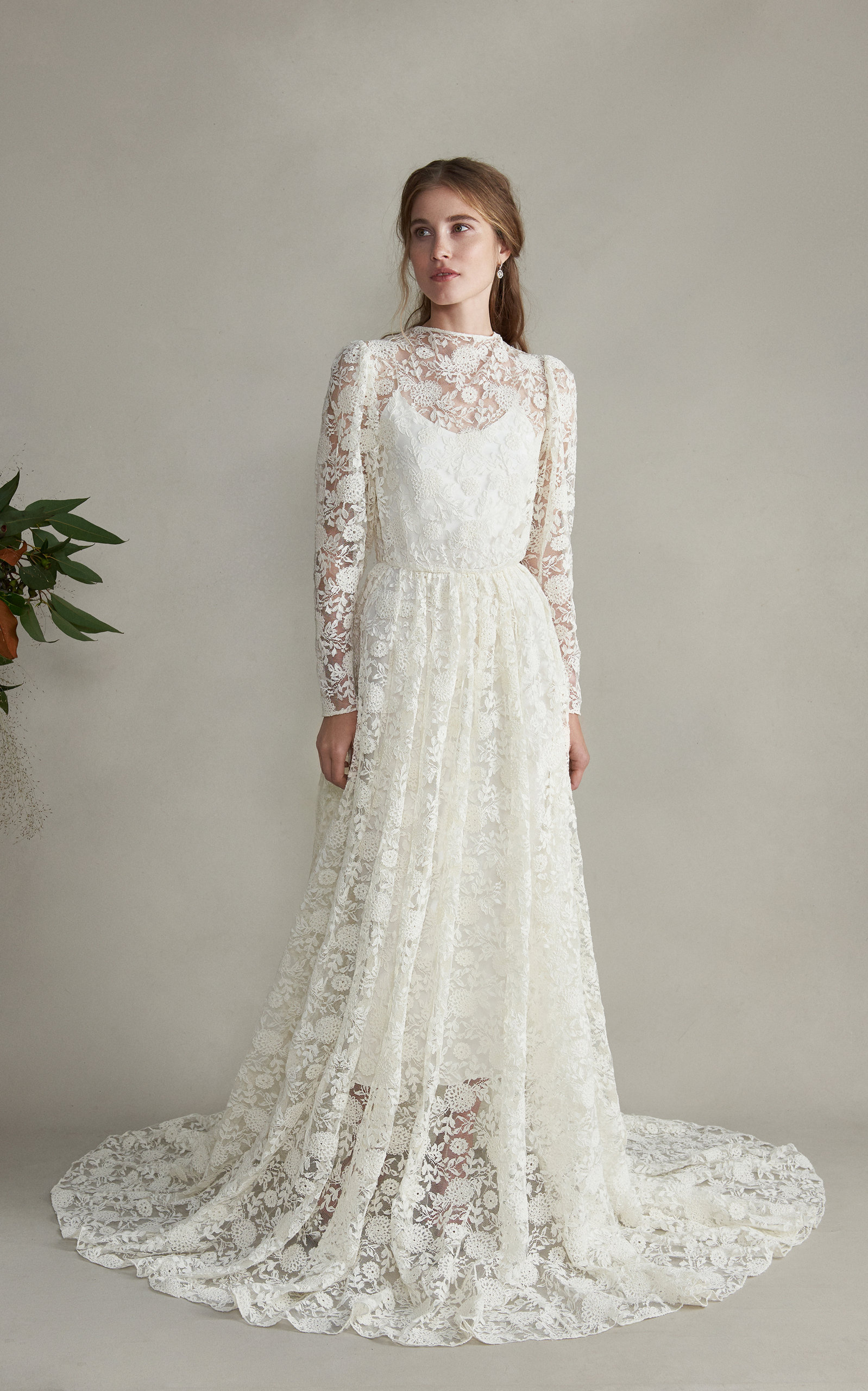 MARKARIAN Esperanza Lace High Neck Silk Sleeved Gown in White
