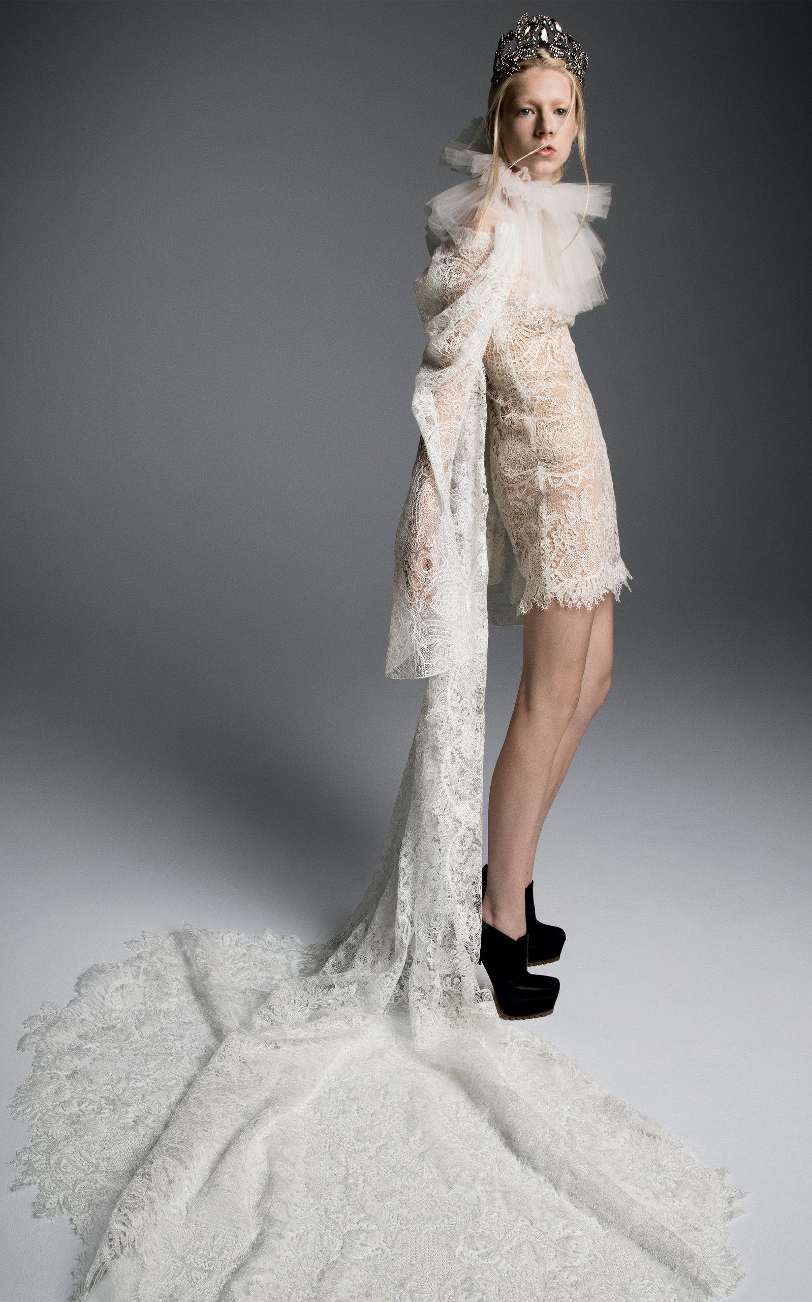 b766f4a39690 Maria M Macrame Short Dress With Dramatic Draped Sleeve by Vera Wang ...