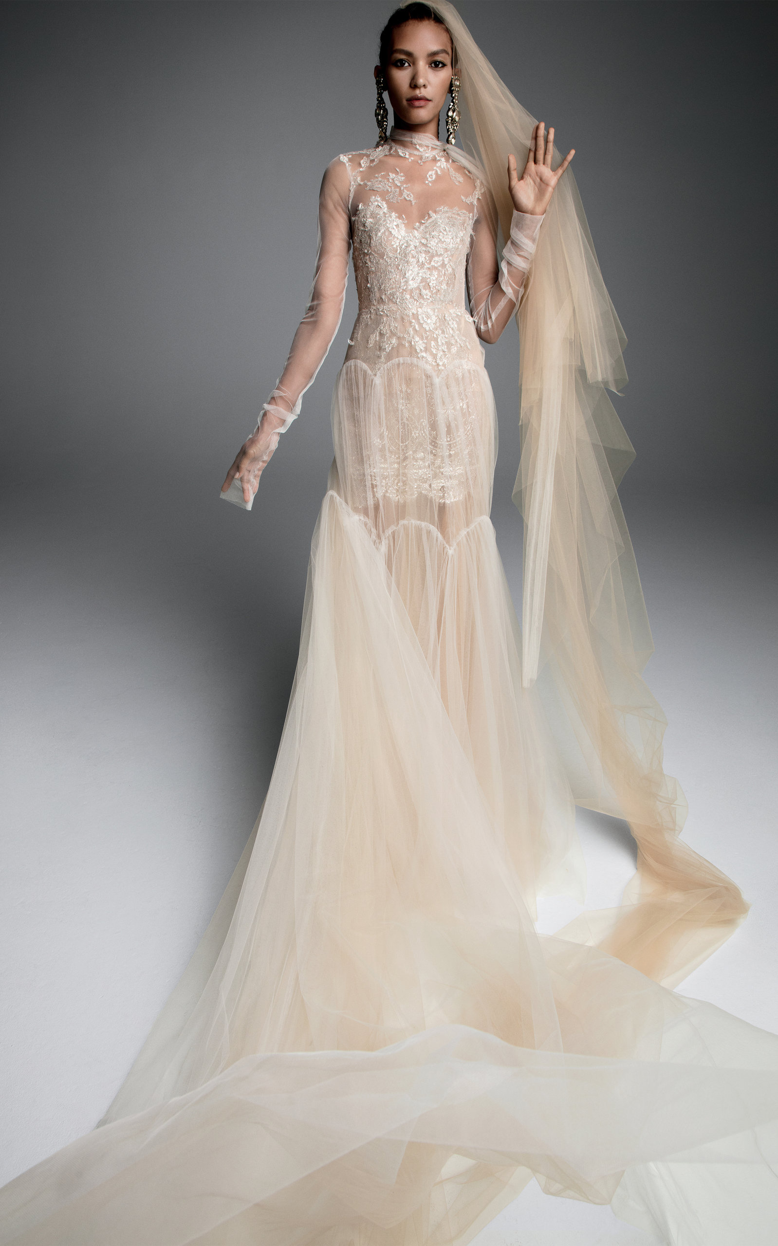 33b3e665d75e1 Sandrine Tulle Gown With Arch Tiered Skirt by Vera Wang | Moda Operandi