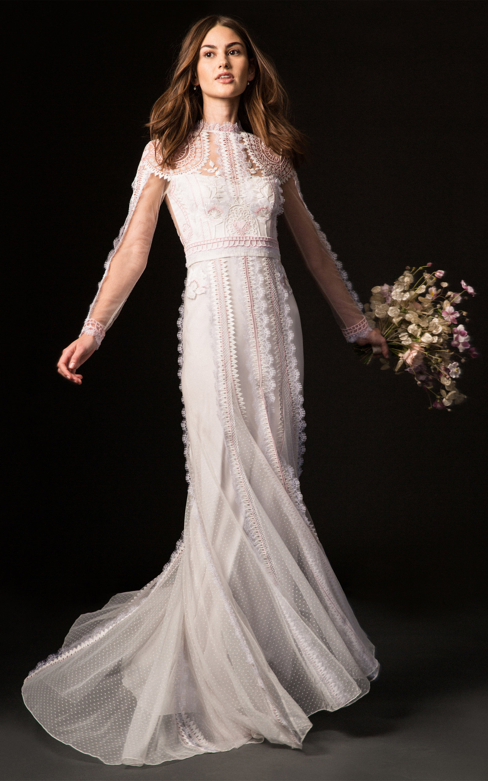 TEMPERLEY LONDON BRIDAL Beatrix Gown With Long Sleeve Lace Overlay in White