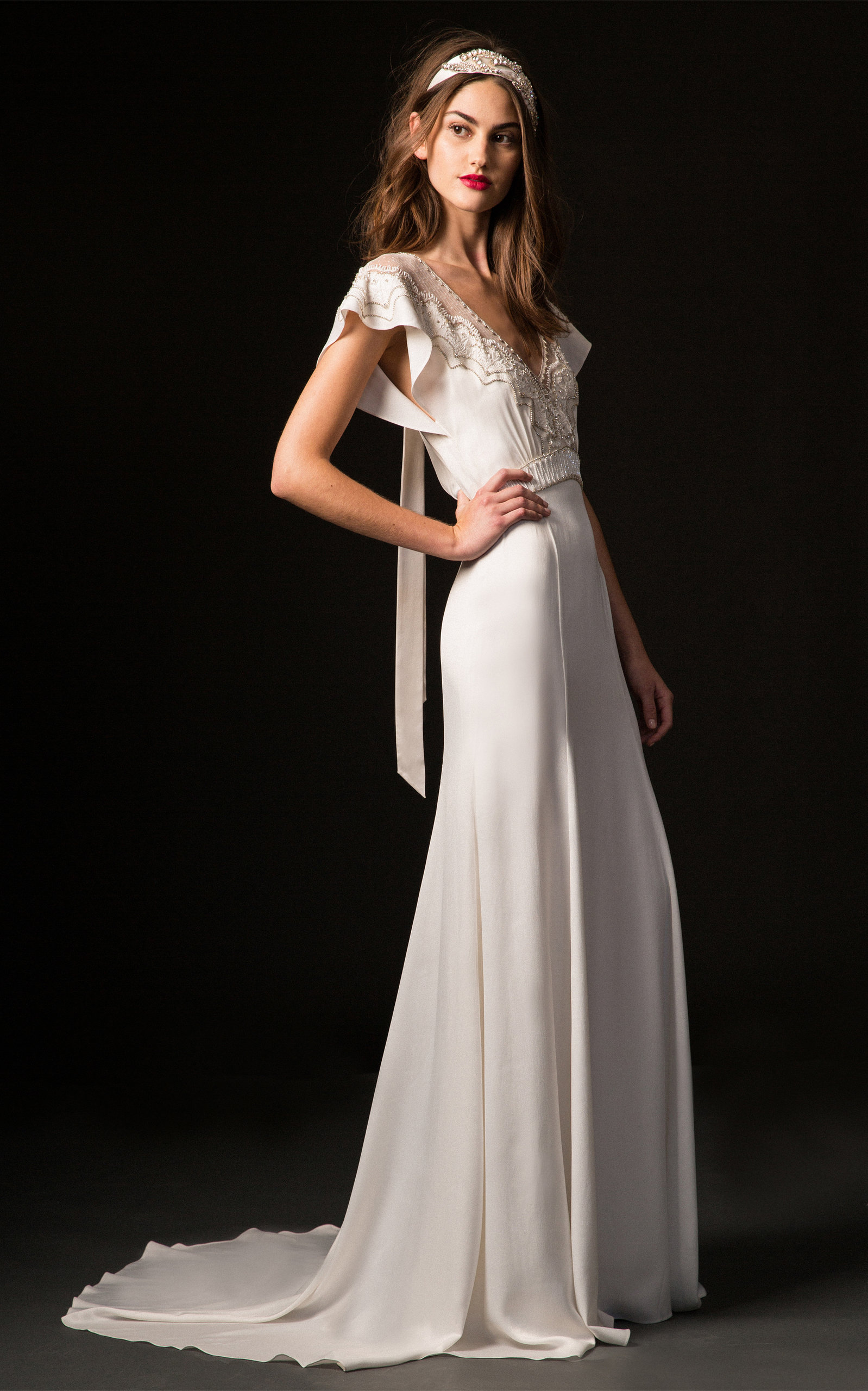 TEMPERLEY LONDON BRIDAL Carmen V-Neck Gown With Embroidered Bodice in White