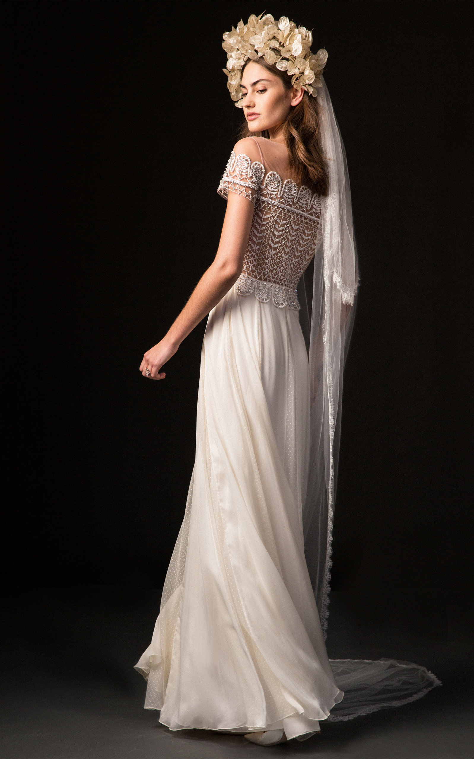 TEMPERLEY LONDON BRIDAL Sofia Off-Shoulder Gown With Fitted Lace Bodice in White