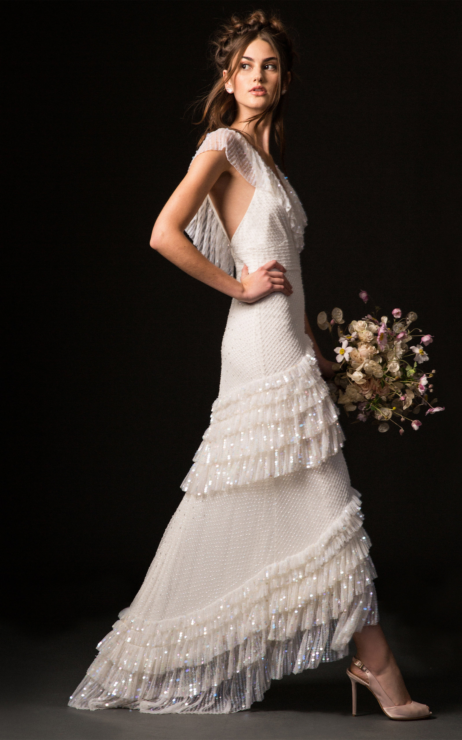 TEMPERLEY LONDON BRIDAL Mimi Gown With Ruffle Cascading Hem in White