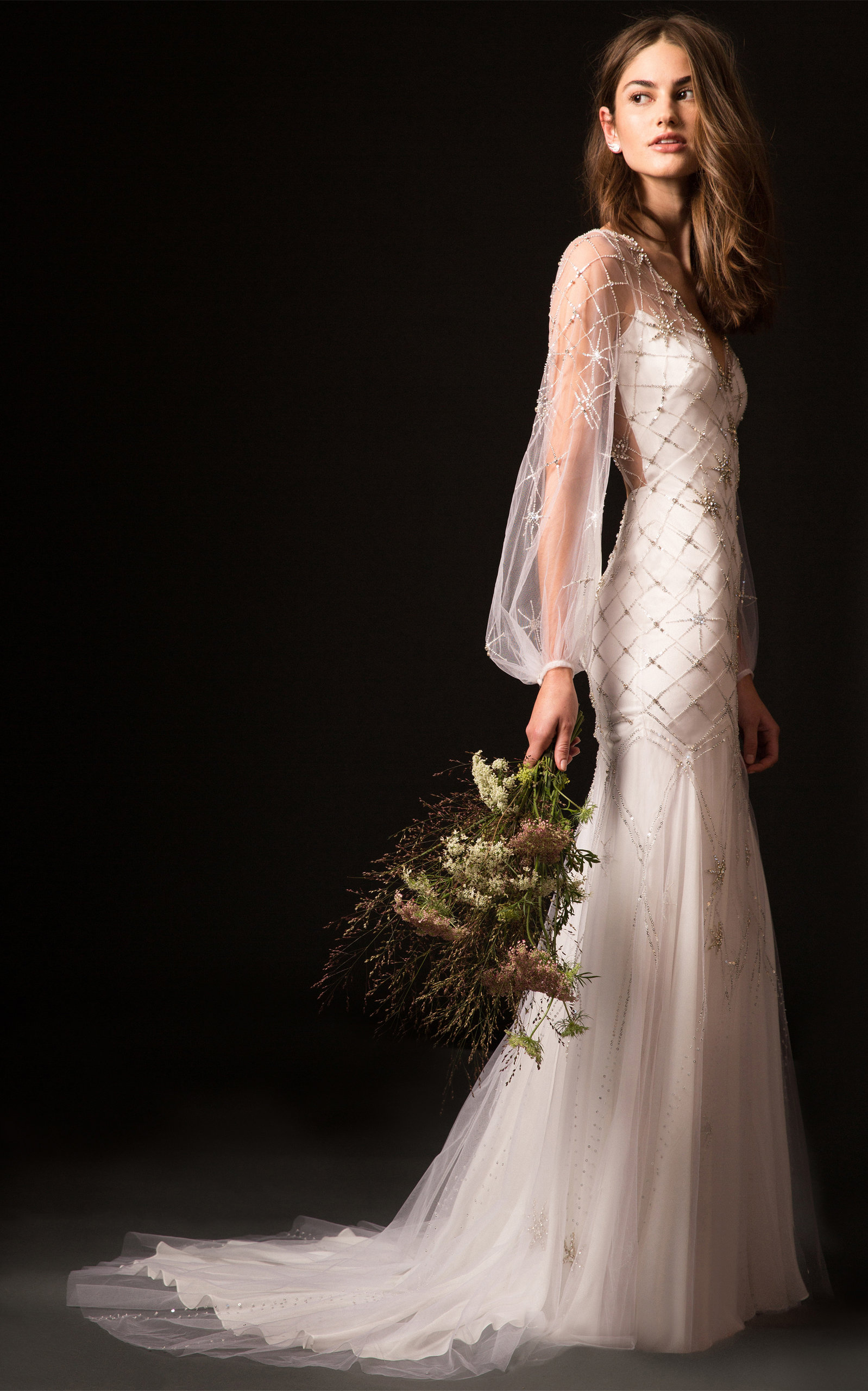 TEMPERLEY LONDON BRIDAL Celeste Gown With Embroidered Bodice And Long Sleeves in White