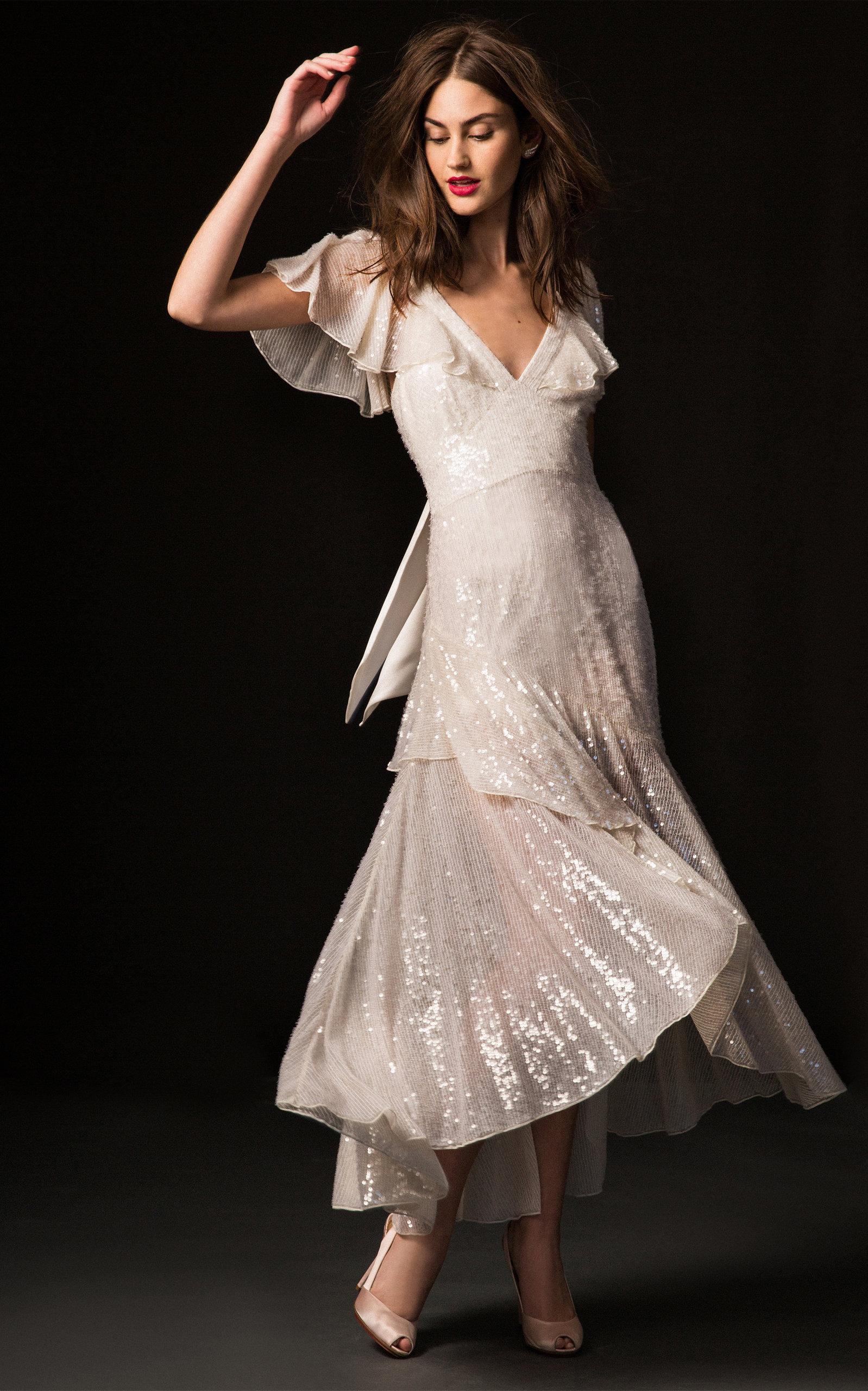 TEMPERLEY LONDON BRIDAL Lila V-Neck Sequin Midi Dress in White