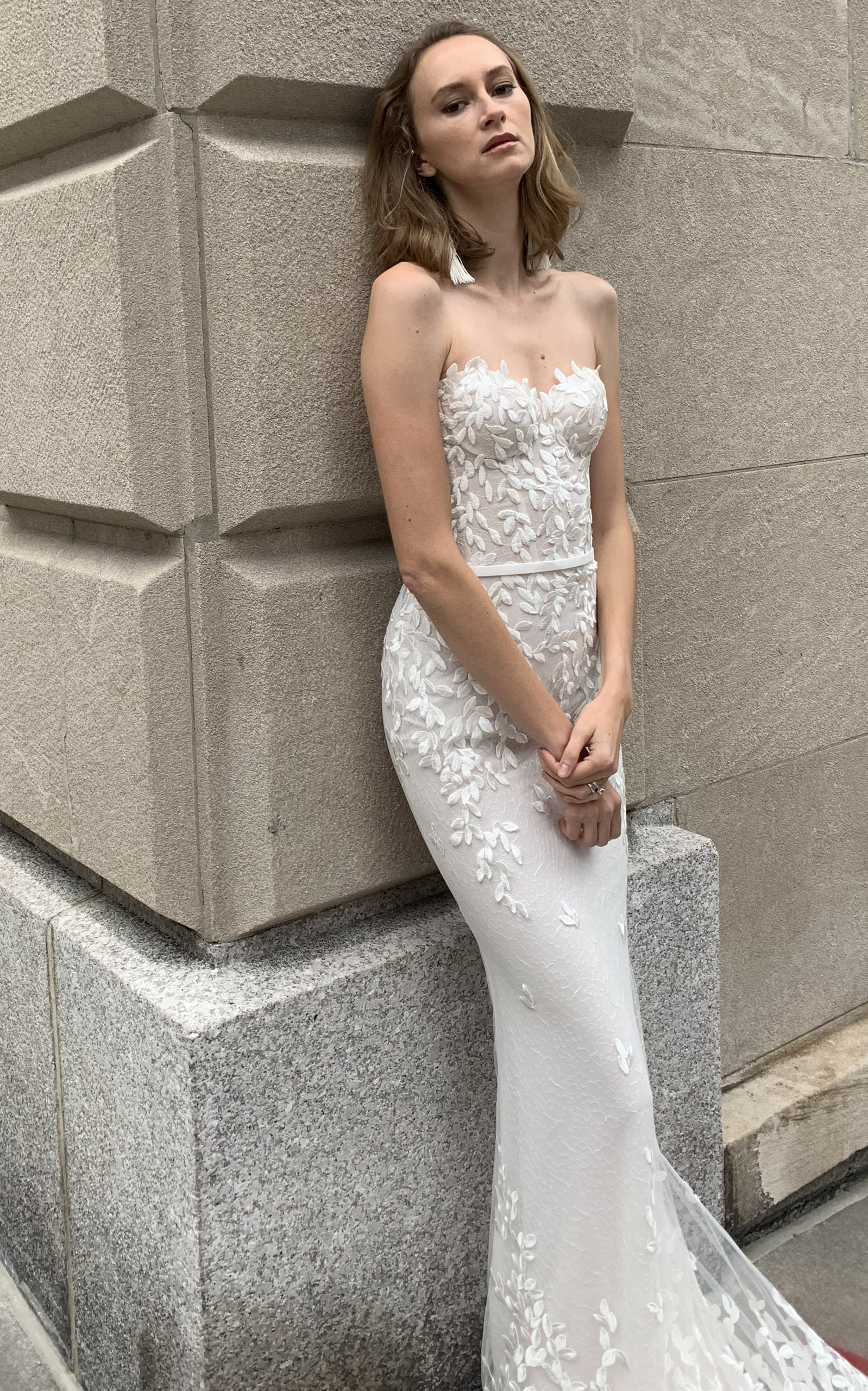 MIRA ZWILLINGER Chaz Strapless Silk Gown With Embroidery in White