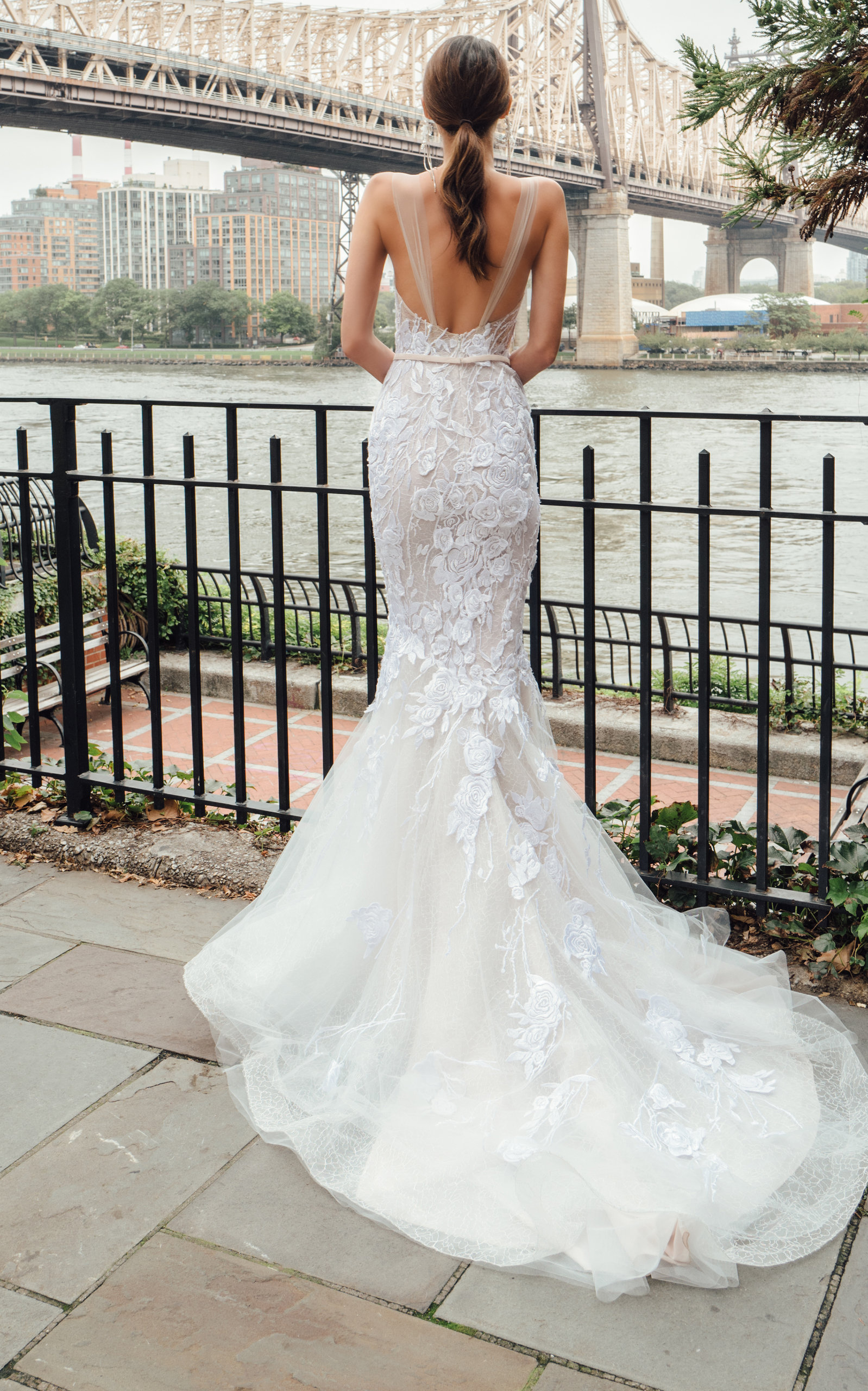 MIRA ZWILLINGER Fabiola Mermaid Lace Gown With Train in White