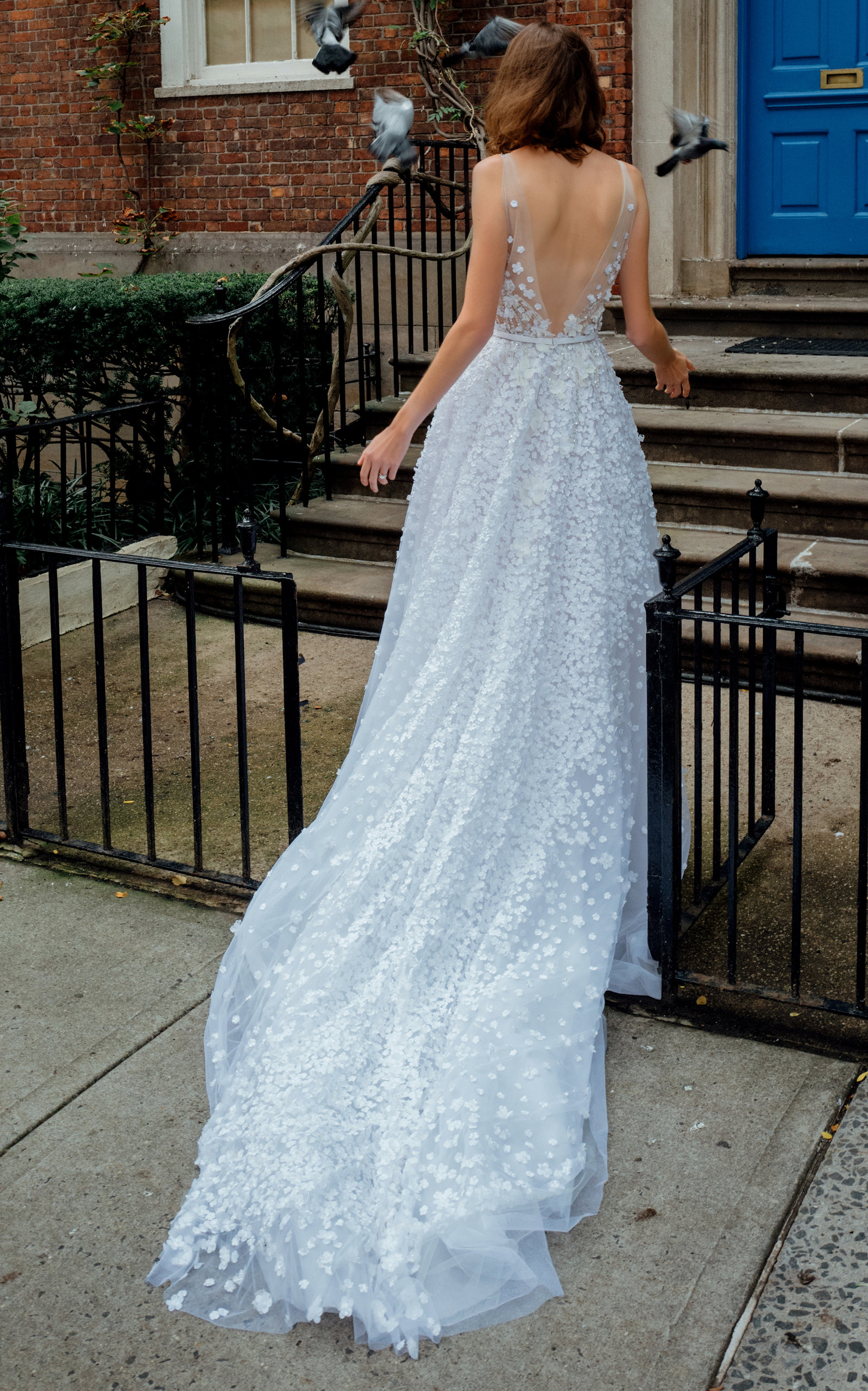 MIRA ZWILLINGER Gigi V Beaded Lace Gown With Train in White