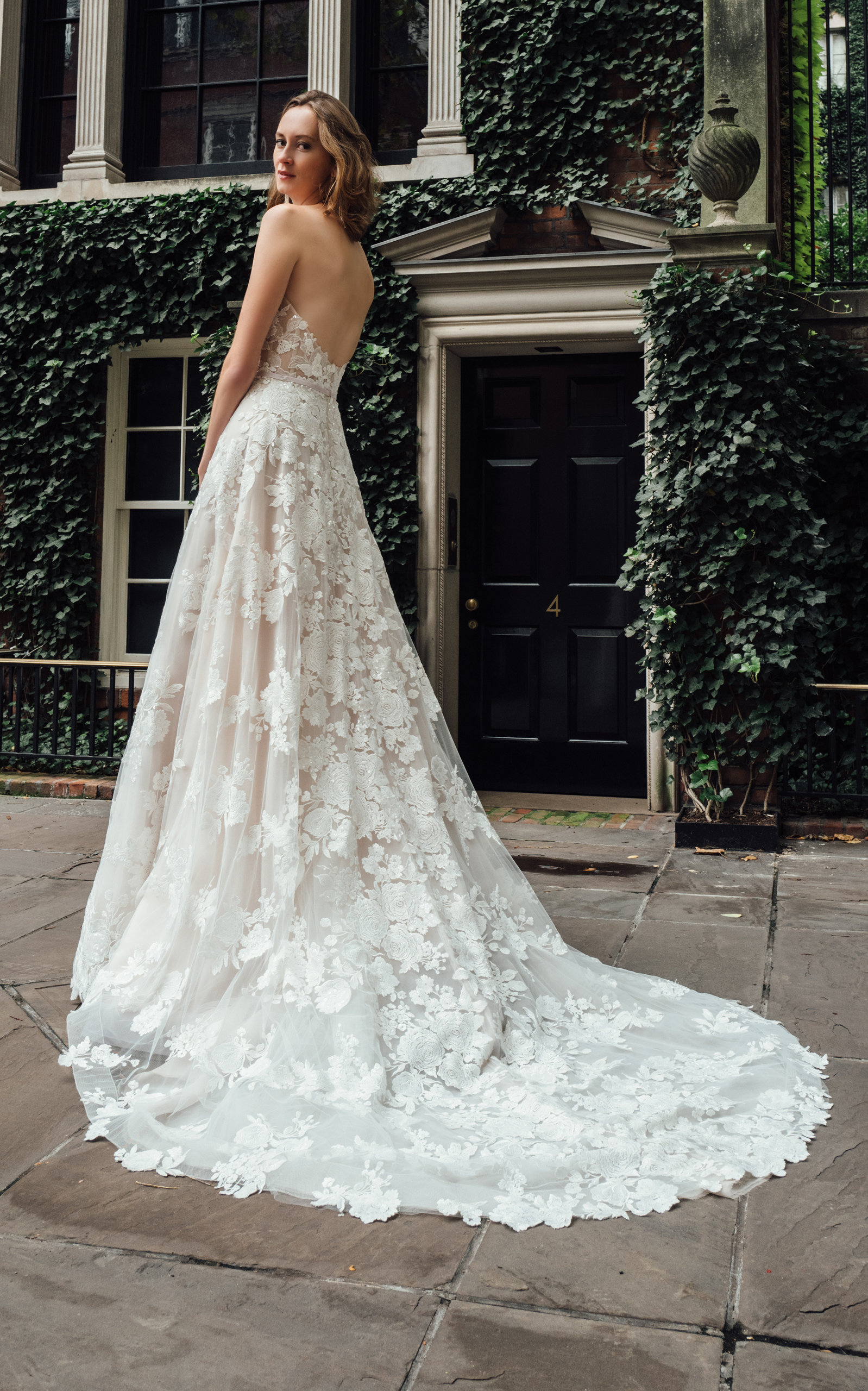MIRA ZWILLINGER Messa Strapless Lace Embroidered Gown With Train in White