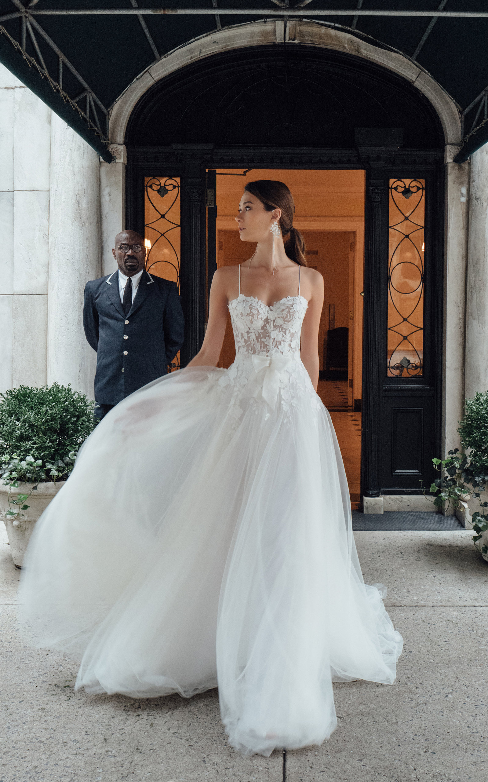 43065bbb9d8a New Fiona Sweetheart Silk Strap Gown With Tulle Skirt And Bow by ...