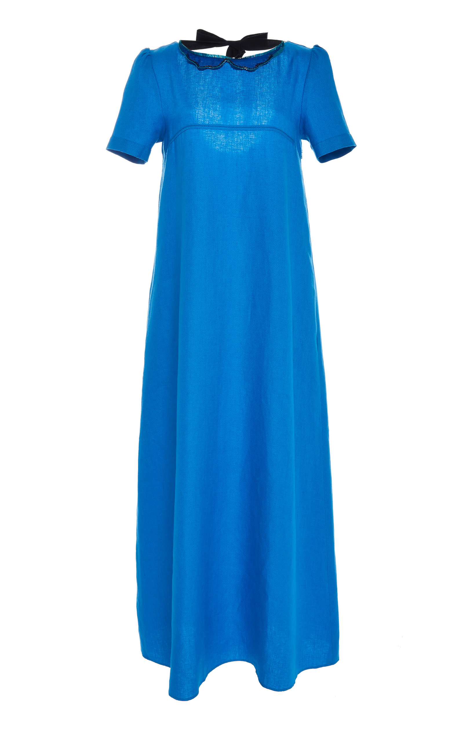CHADOR Stella B Linen Maxi Dress With Peter Pan Collar in Blue