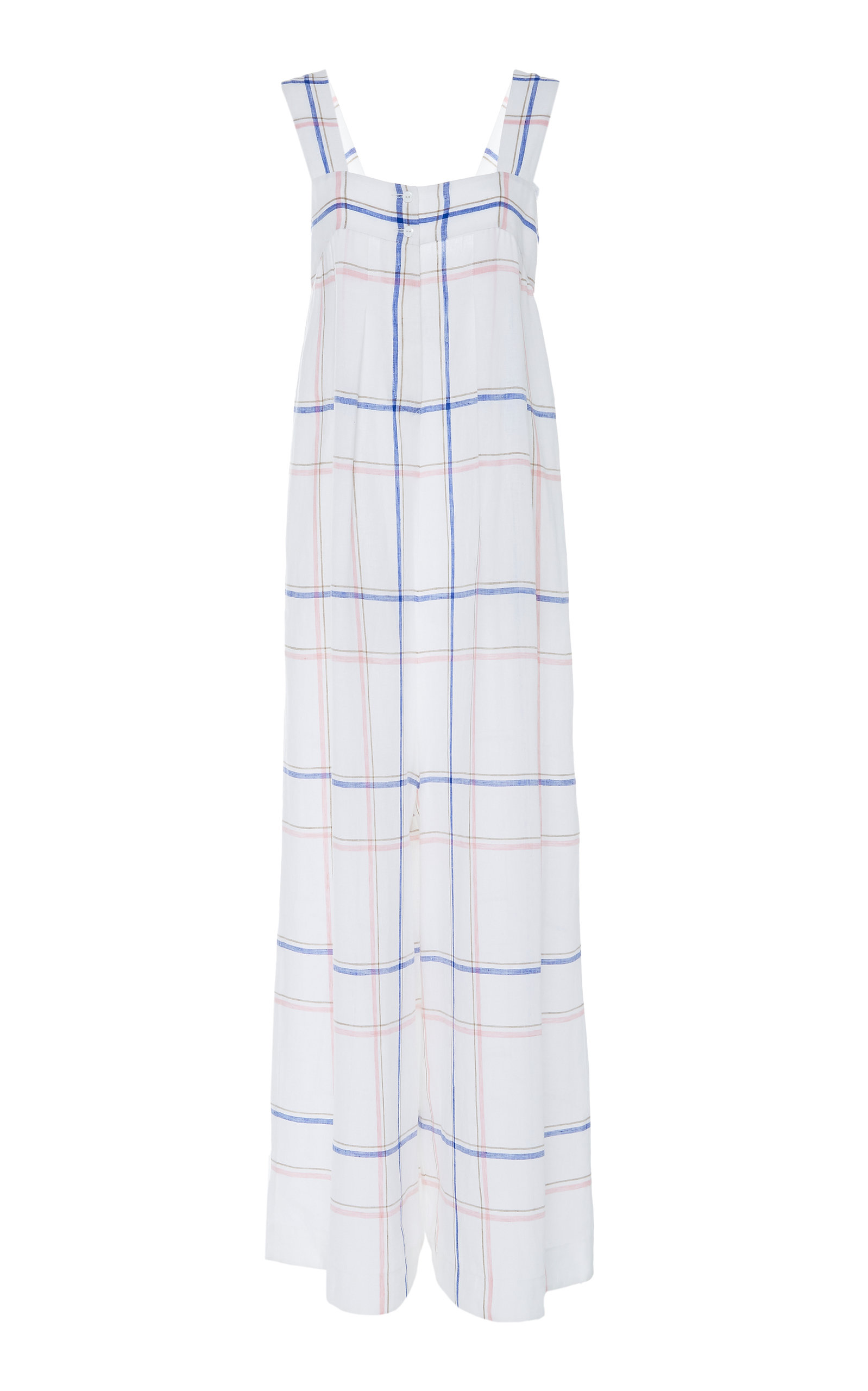 CHADOR Cassy Printed Linen Jumpsuit in Plaid