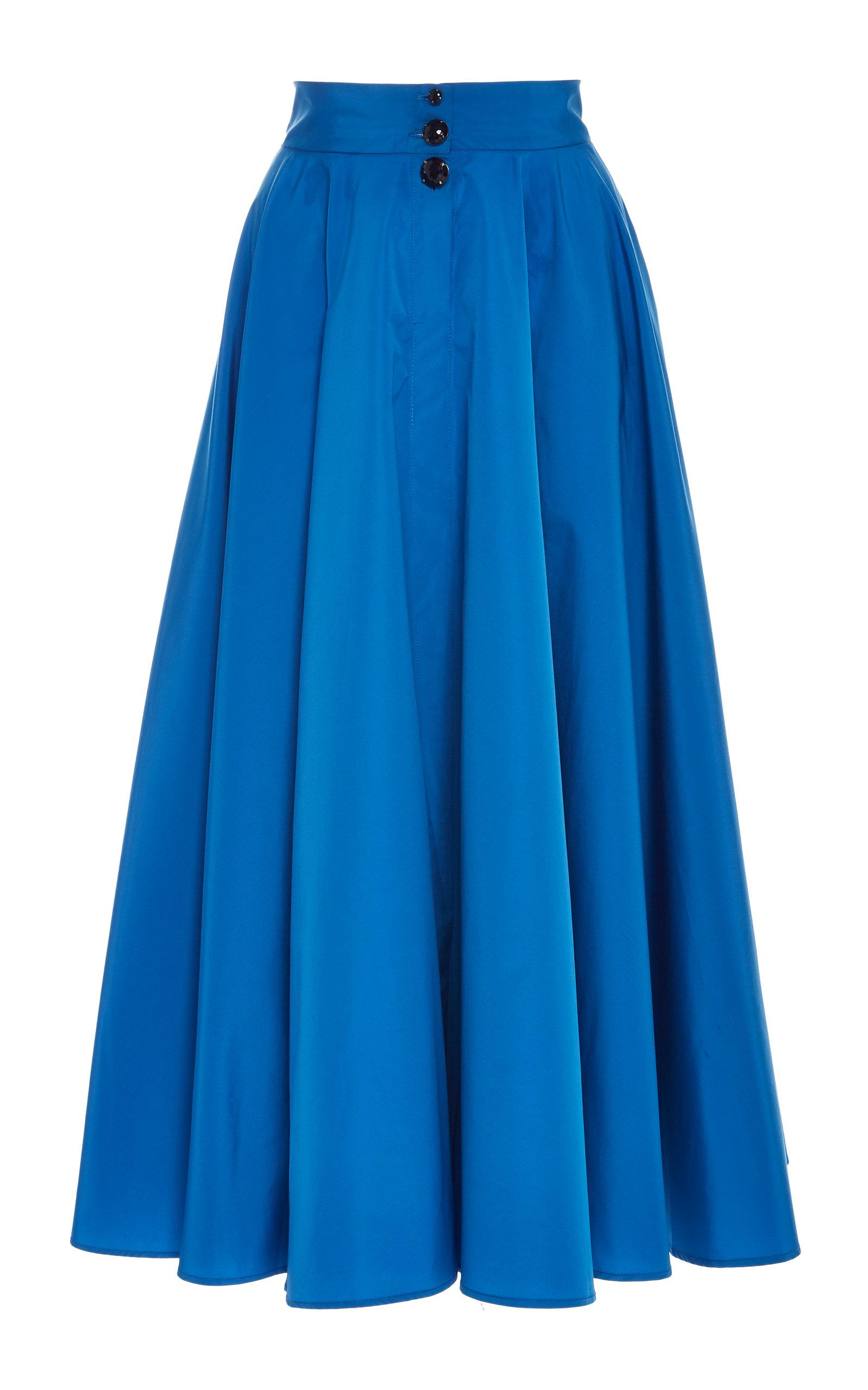 CHADOR Kelly B A-Line Midi Skirt in Blue