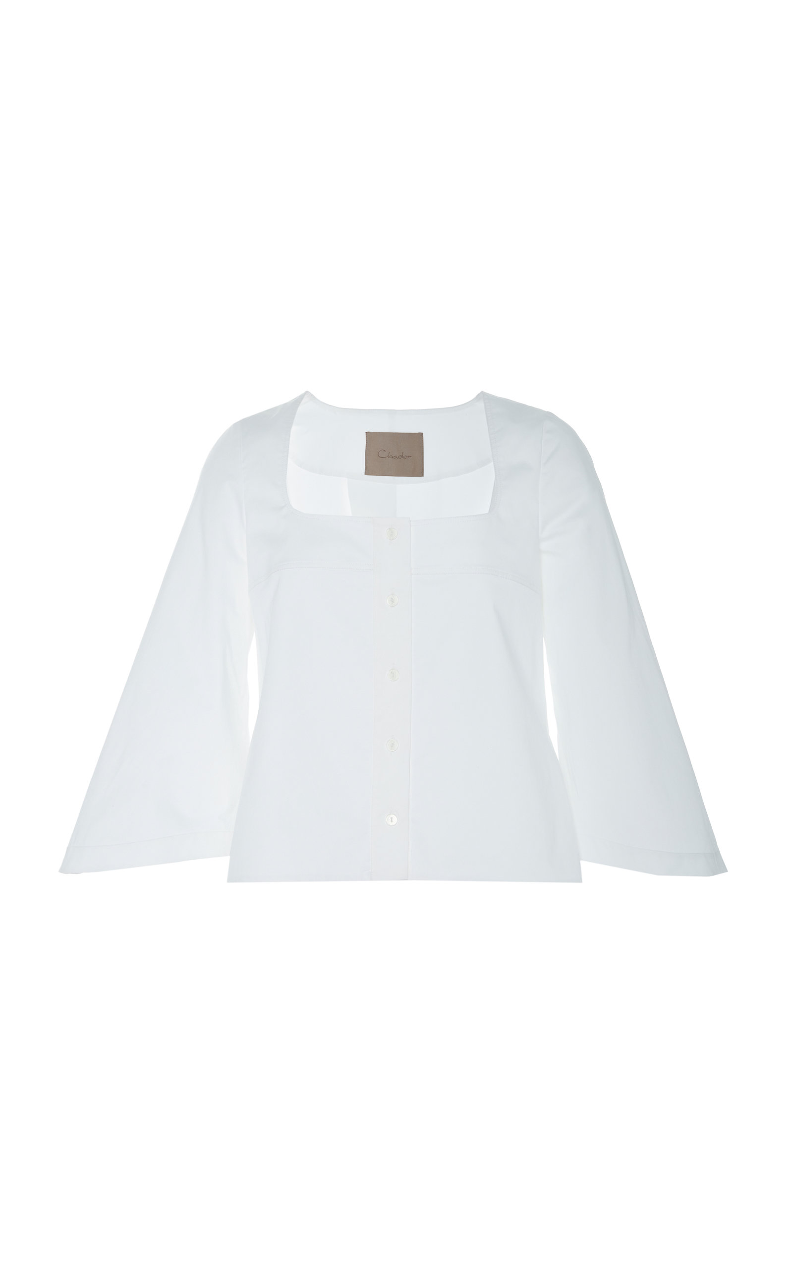 CHADOR Rosie Cotton Blouse With Flared Sleeves in White