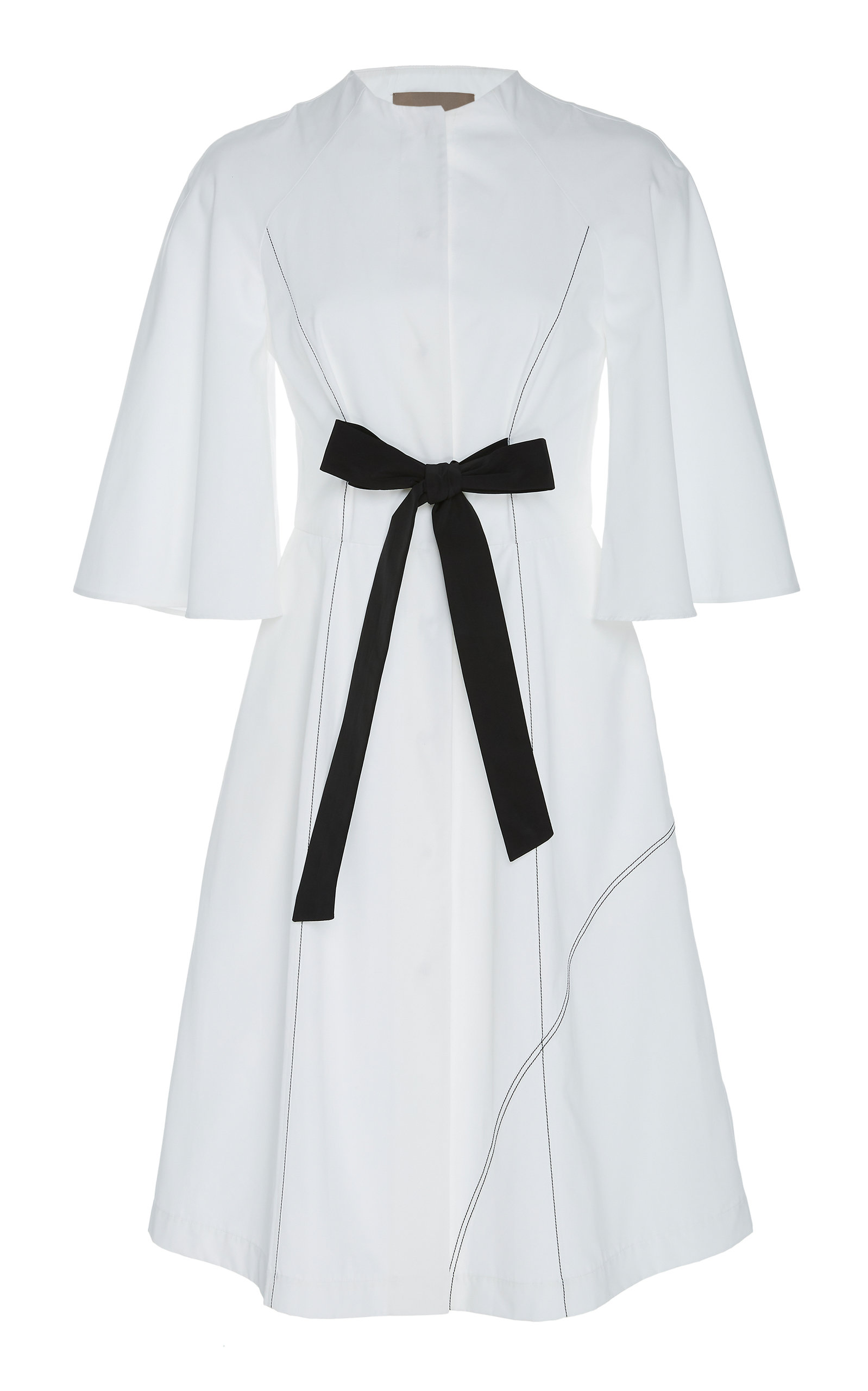 CHADOR Ruby C Cotton Dress With Bell Sleeves in White