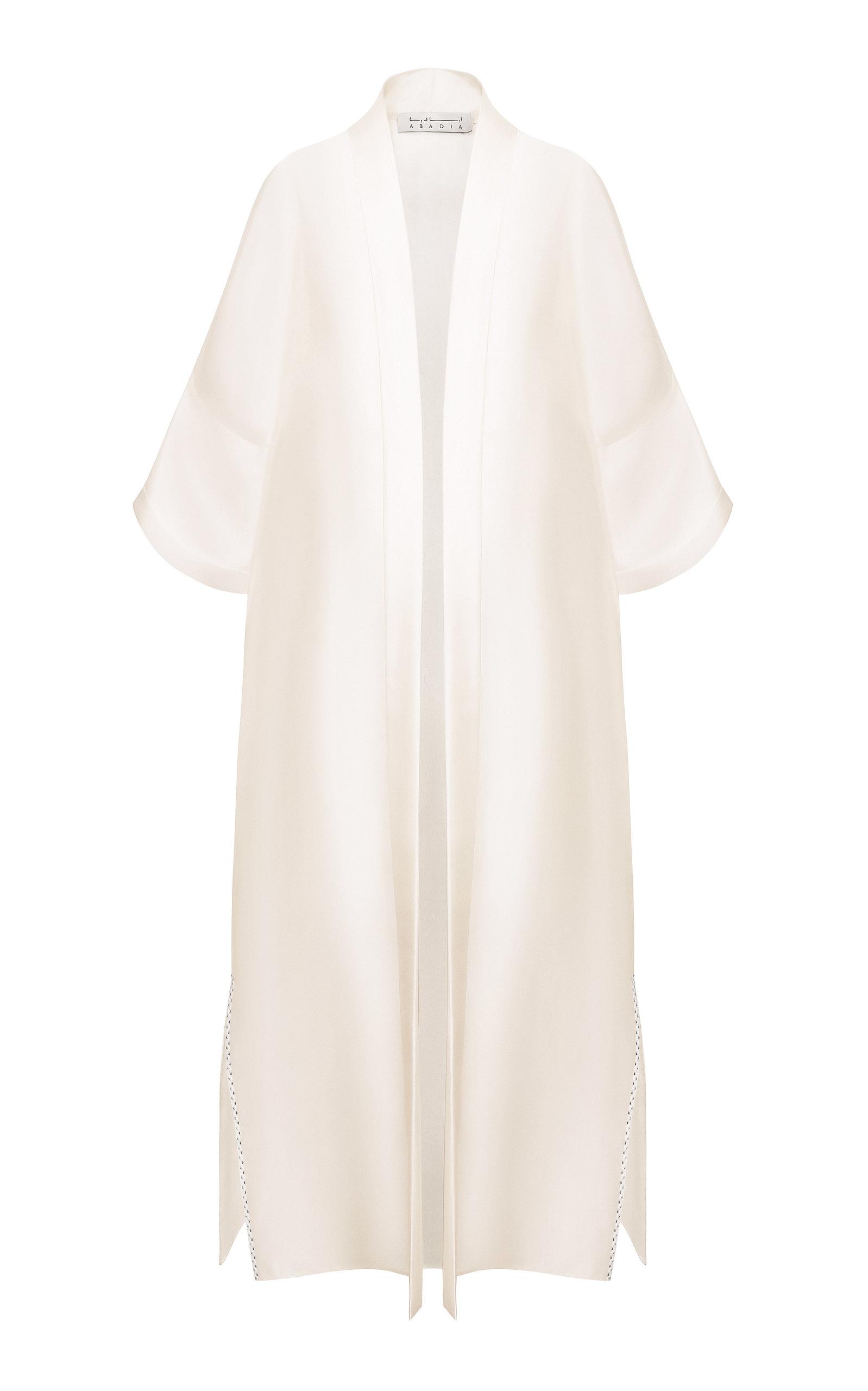 ABADIA Oversized Silk Organza Cardigan in White