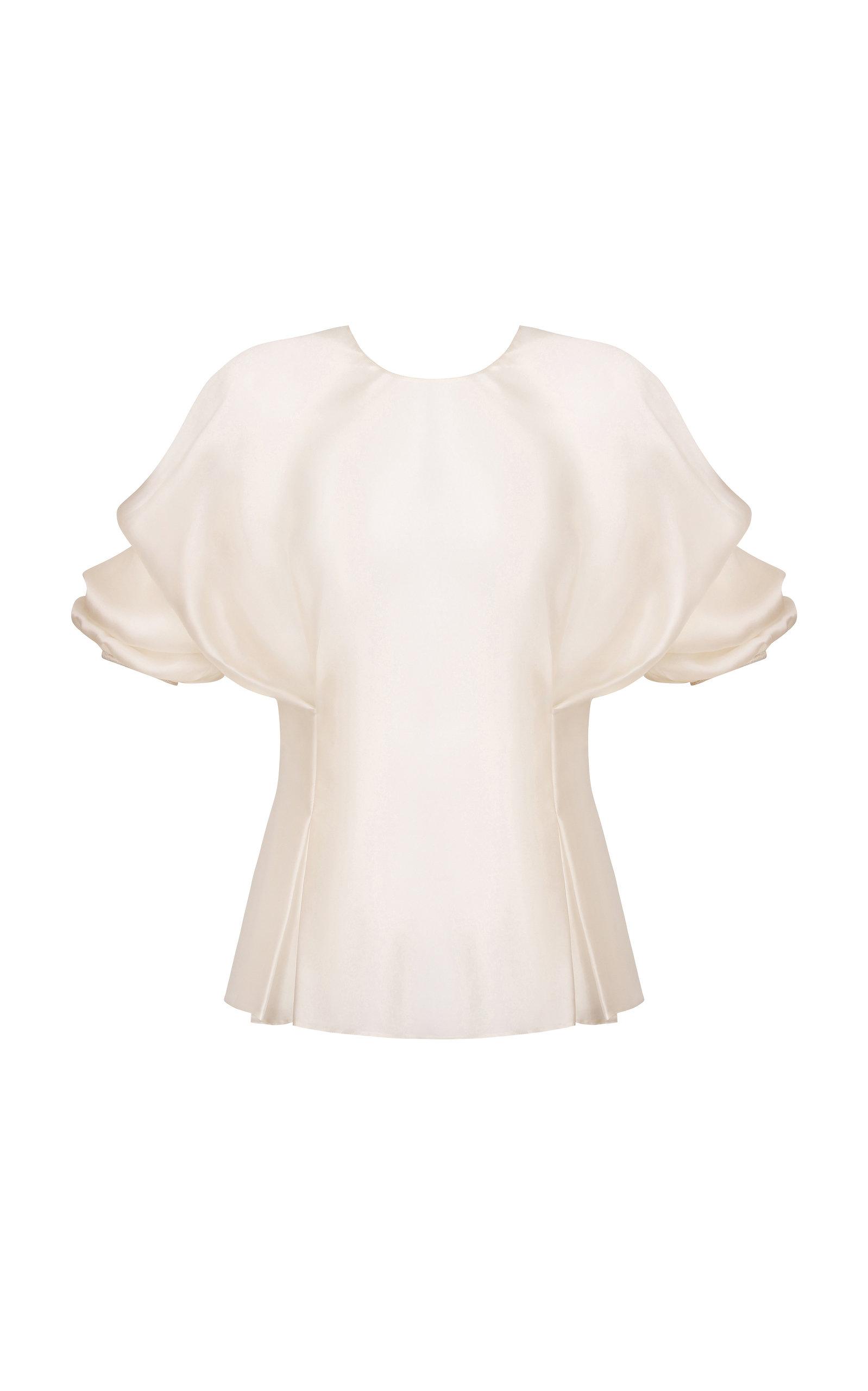 ABADIA Pleated Volume Silk Top in White