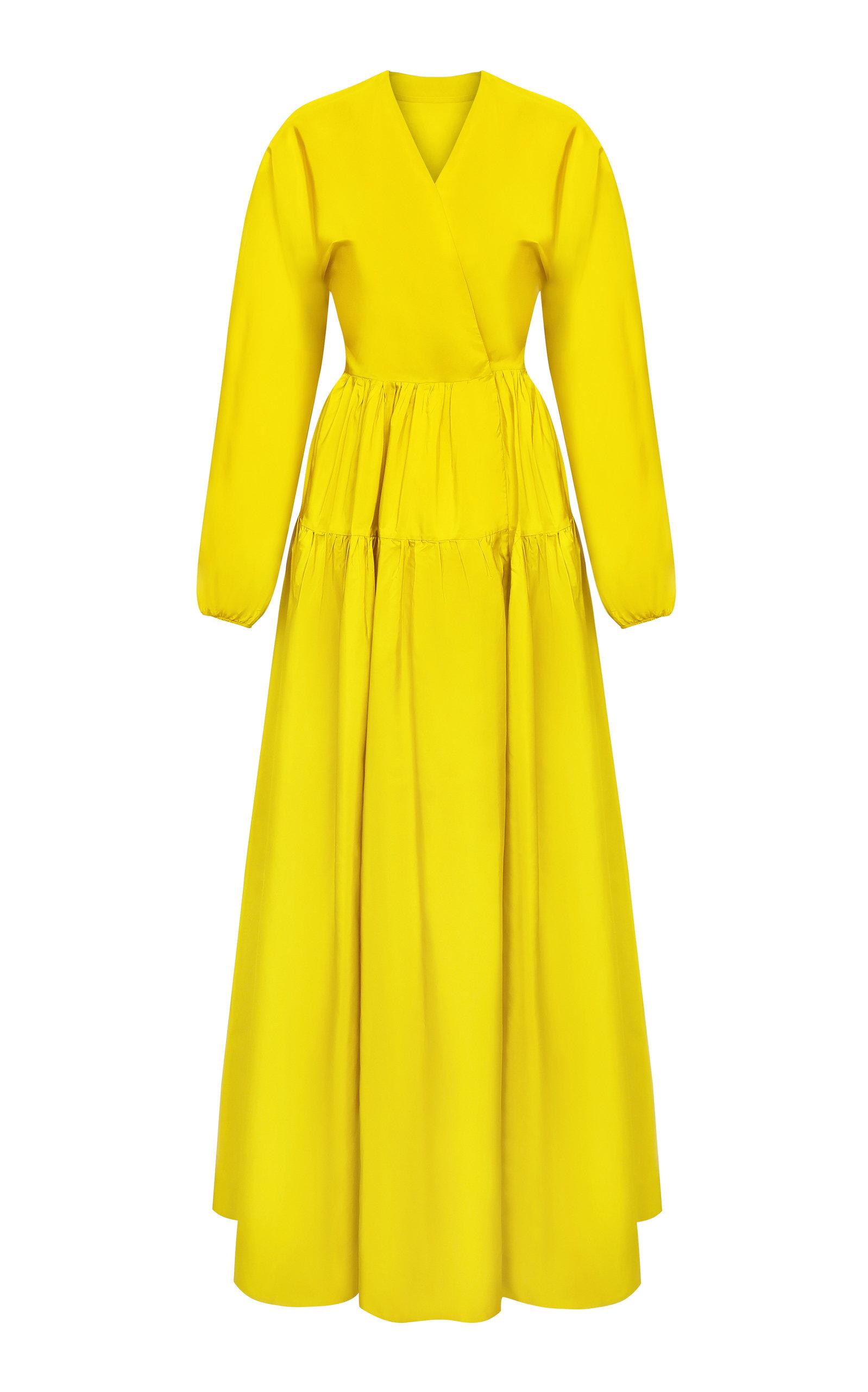 ABADIA Tiered Silk Maxi Dress in Yellow