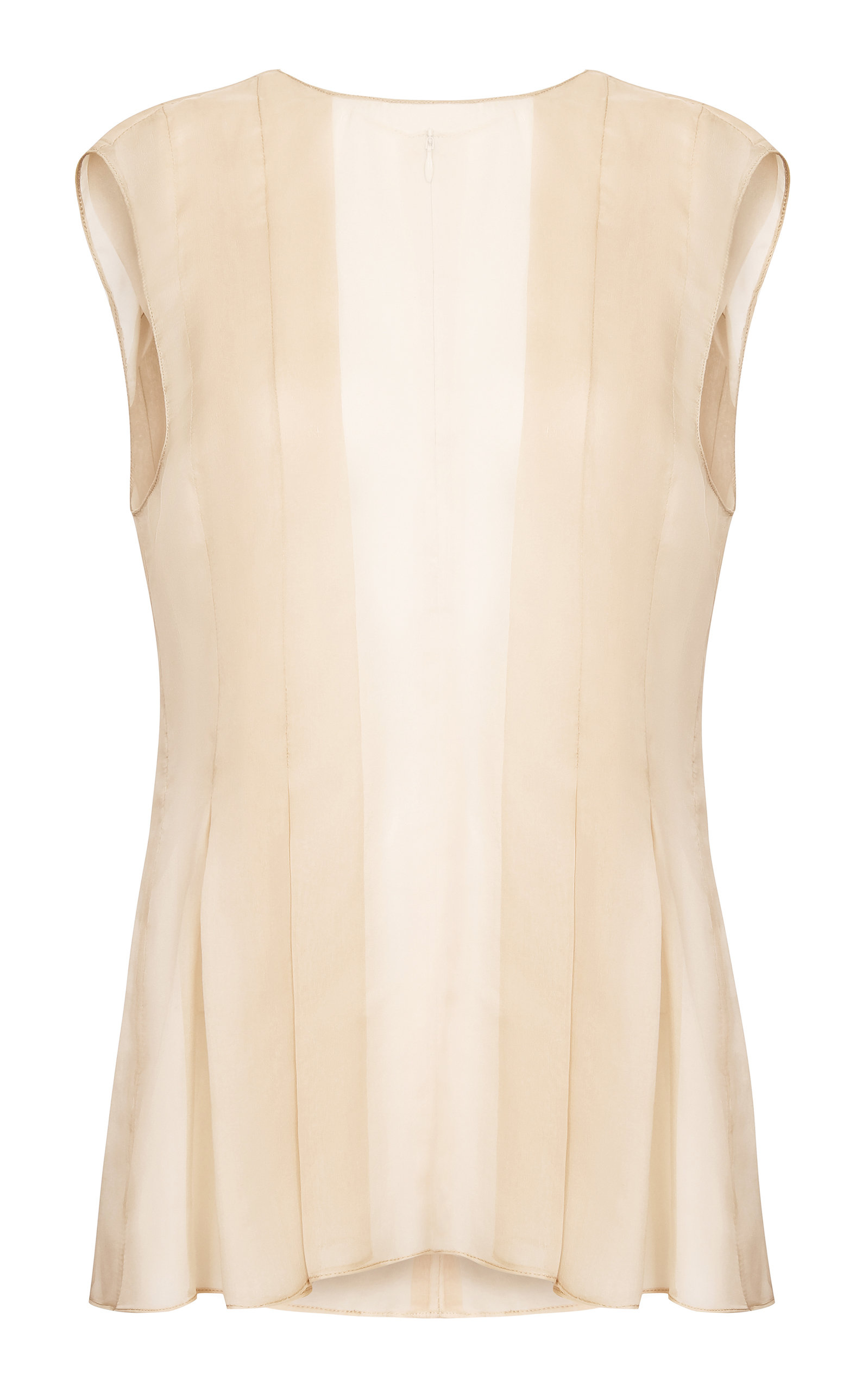 ABADIA Pleated Chiffon Top in Neutral
