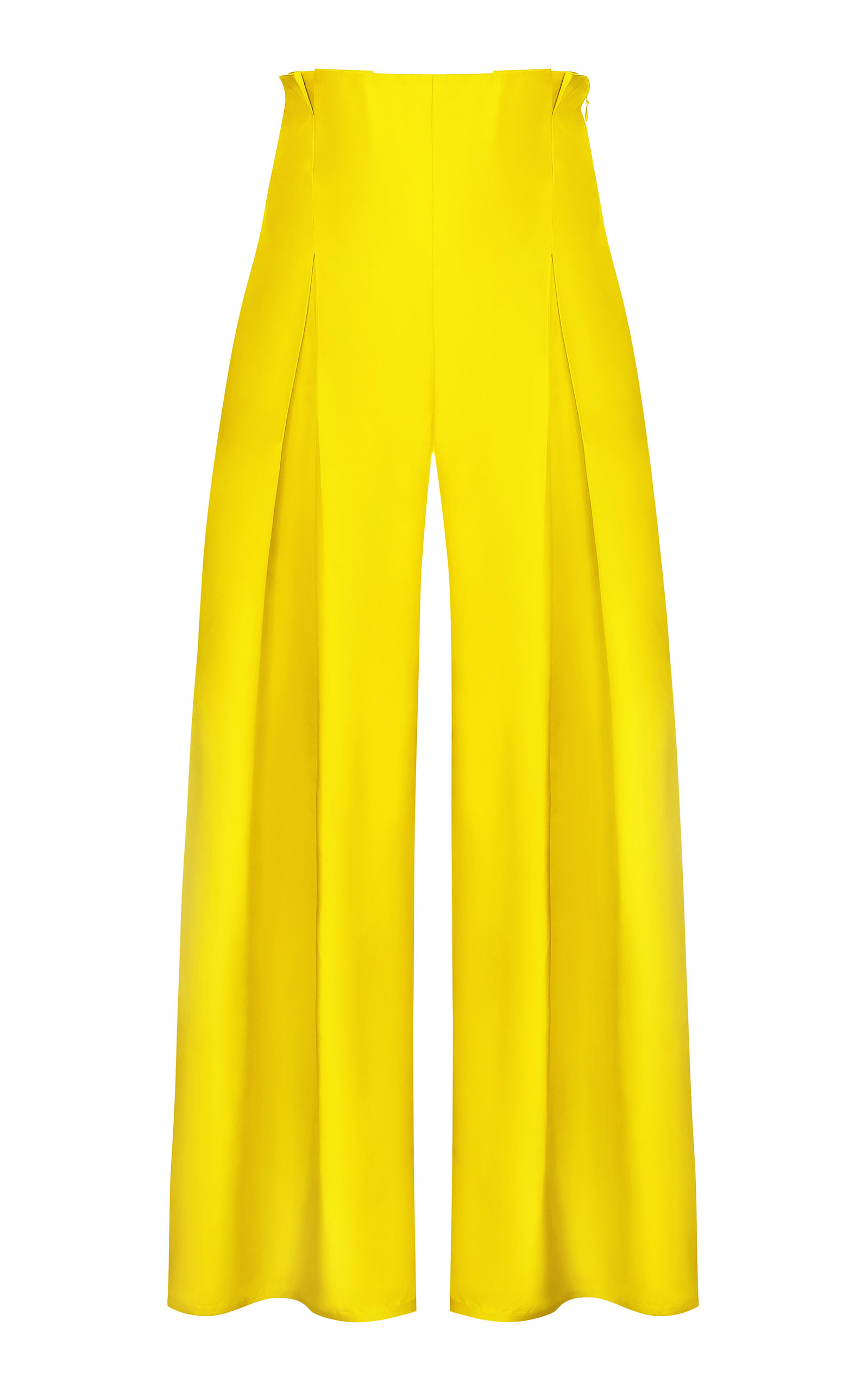 ABADIA Pleated Silk Taffeta Wide-Leg Pants in Yellow