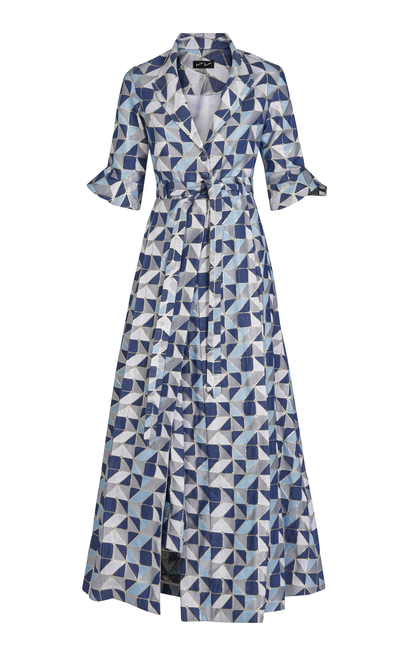 AMIRA HAROON Tailored Printed Maxi Jacket in Blue