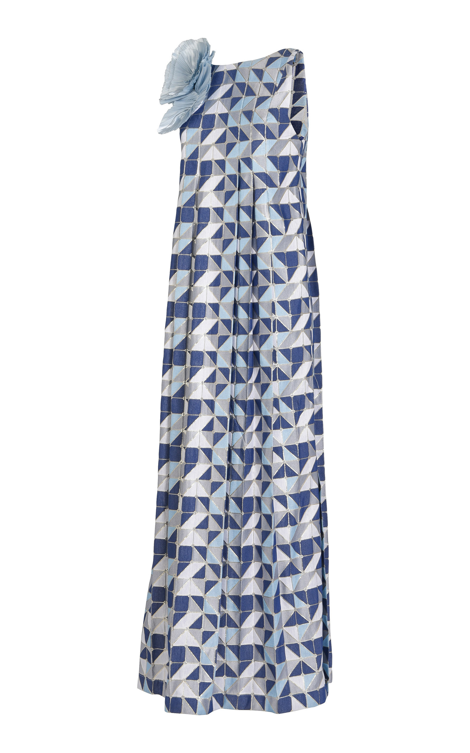 AMIRA HAROON A-Line Pleated Maxi Dress in Blue