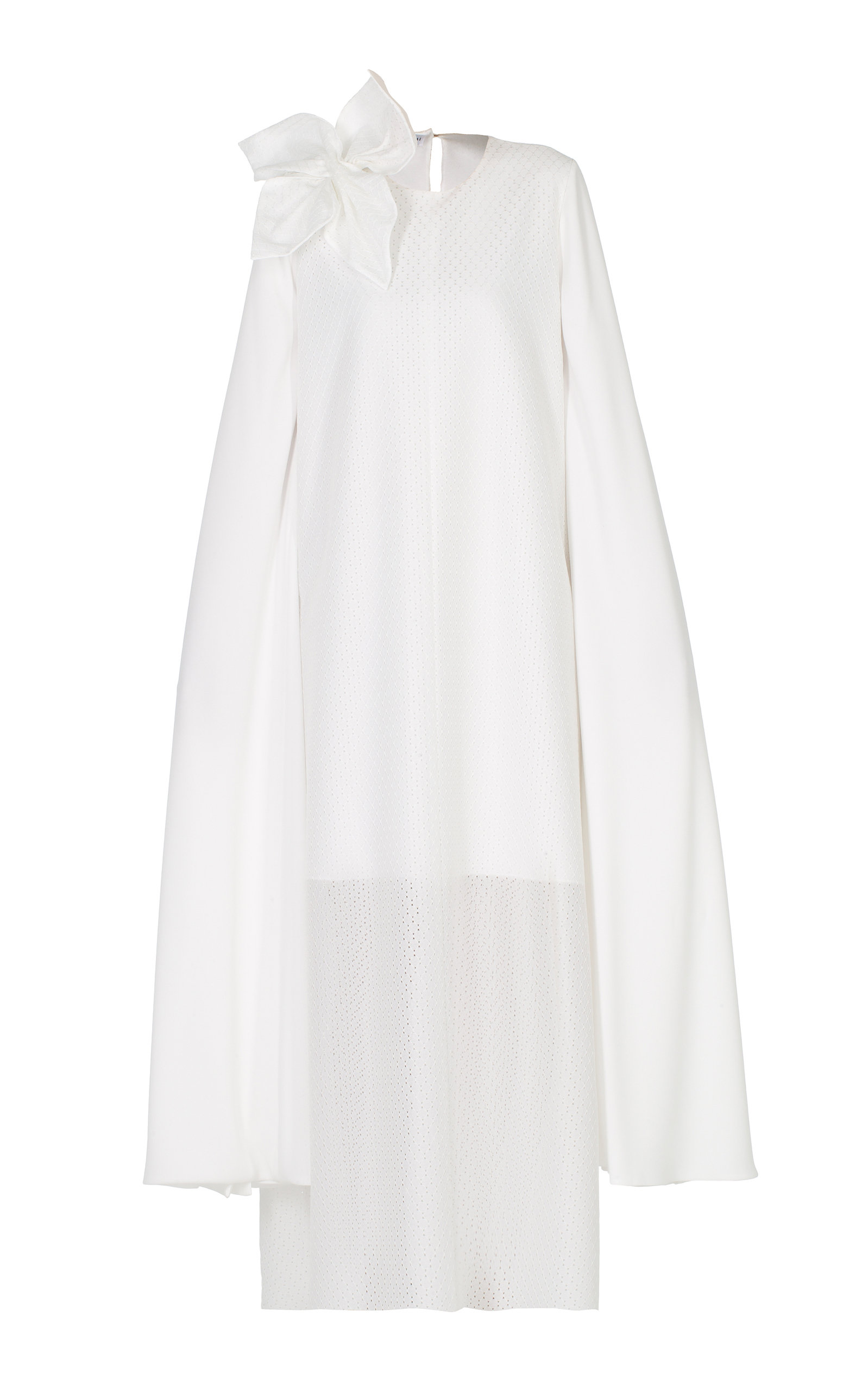 ANATOMI Lattice Lace Dress With Petal Detail in White