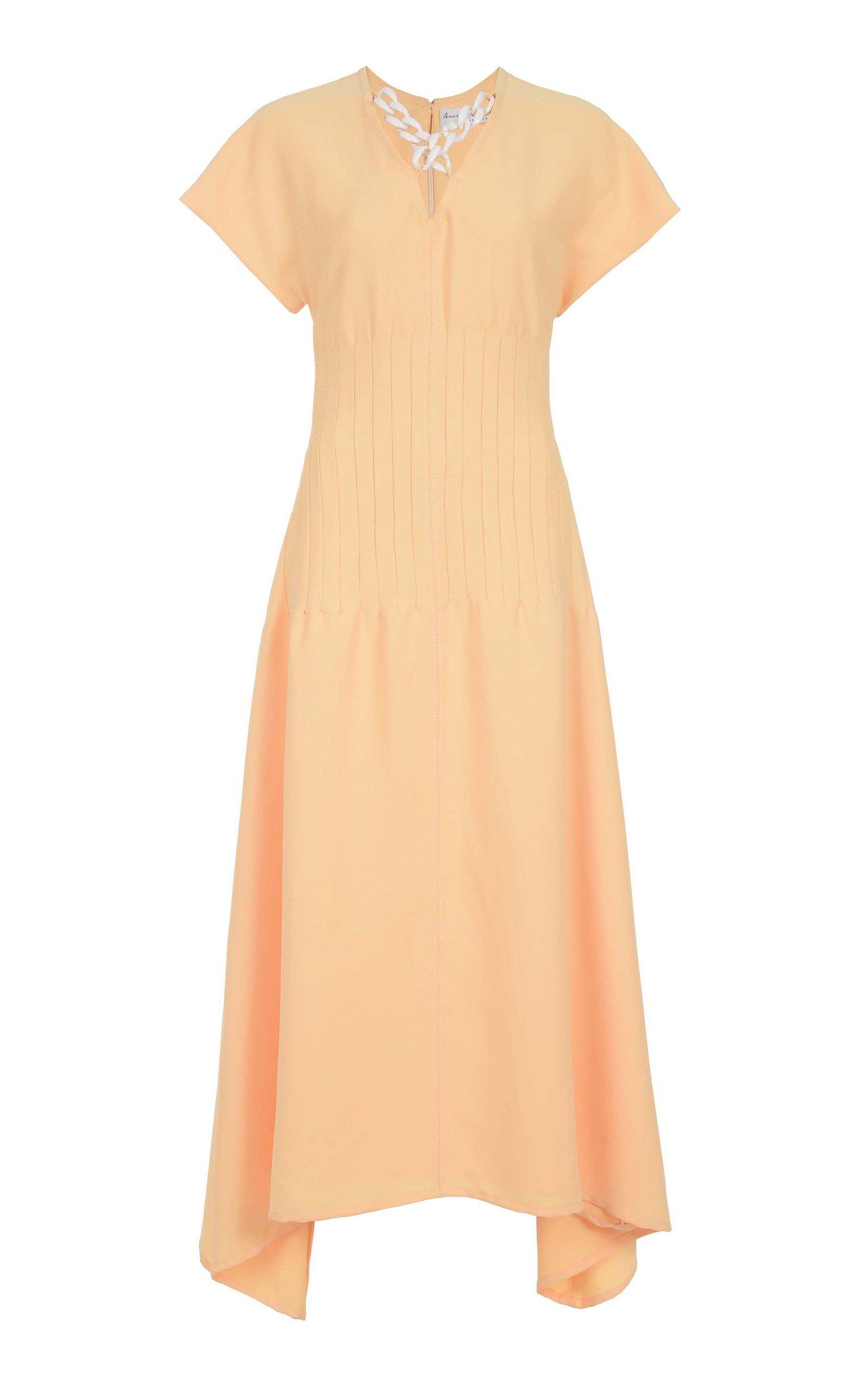 AMAL AL MULLA Cinched Crepe Midi Dress in Yellow