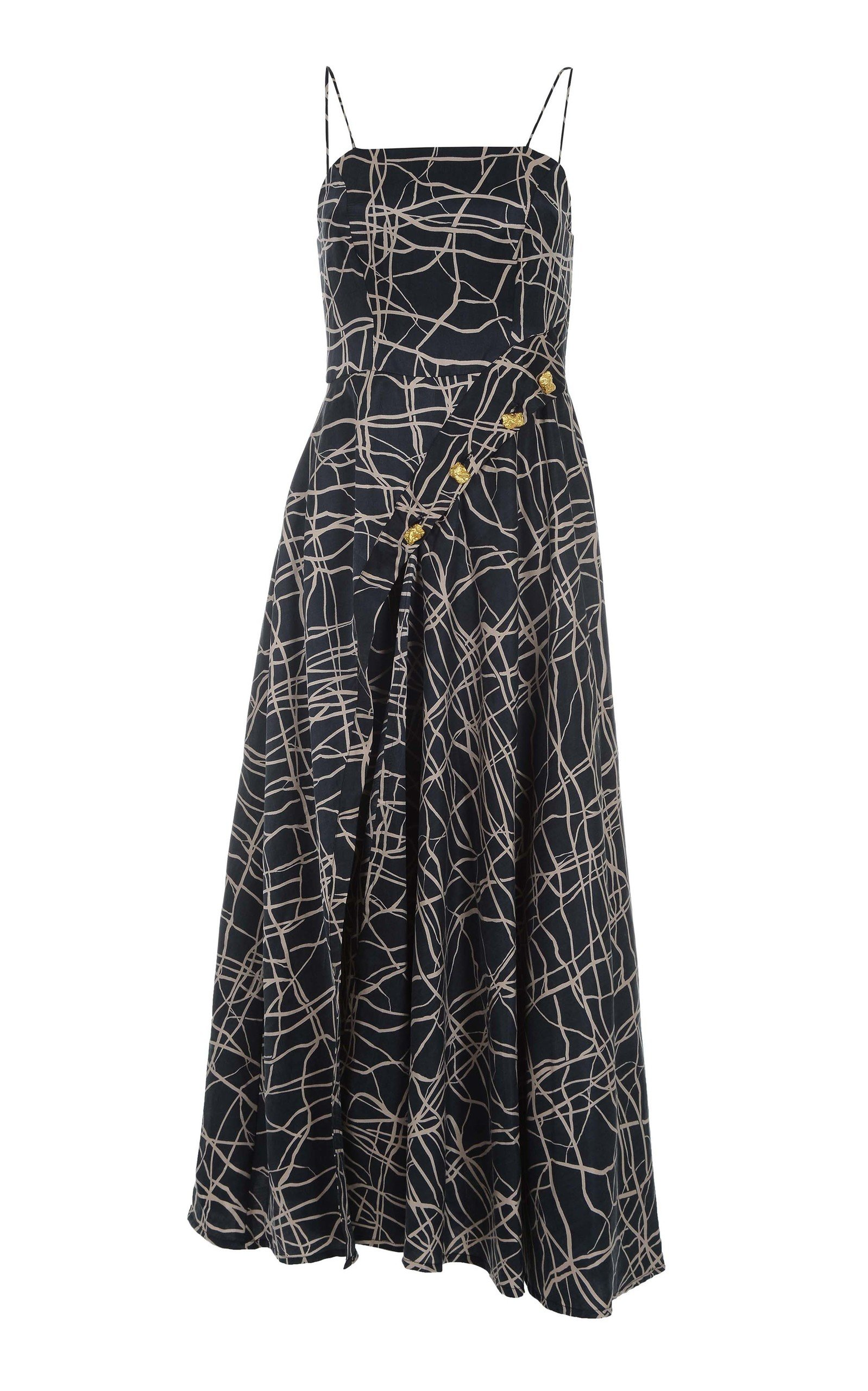 AMAL AL MULLA Asymmetrical Cotton-Blend Maxi Dress in Navy