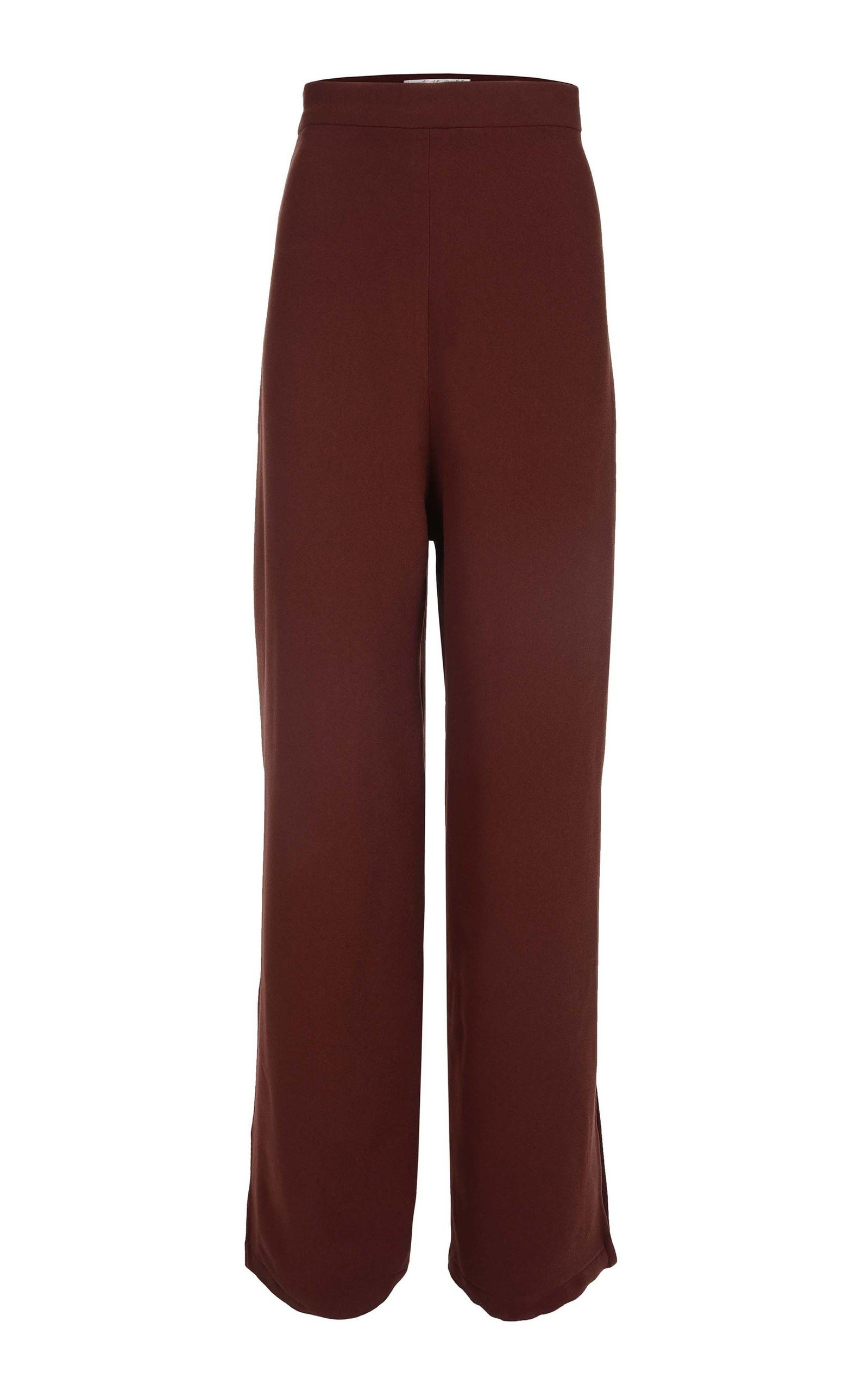 AMAL AL MULLA Wide Leg Crepe Pants in Burgundy