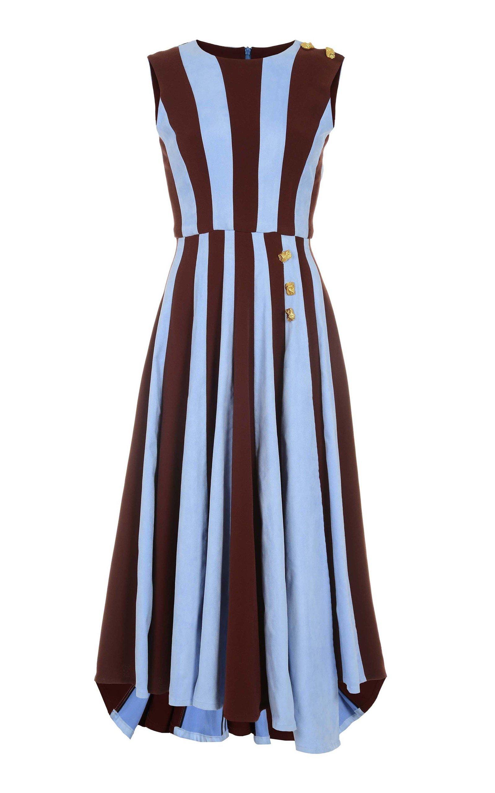 AMAL AL MULLA Two Toned Crepe Midi Dress in Stripe