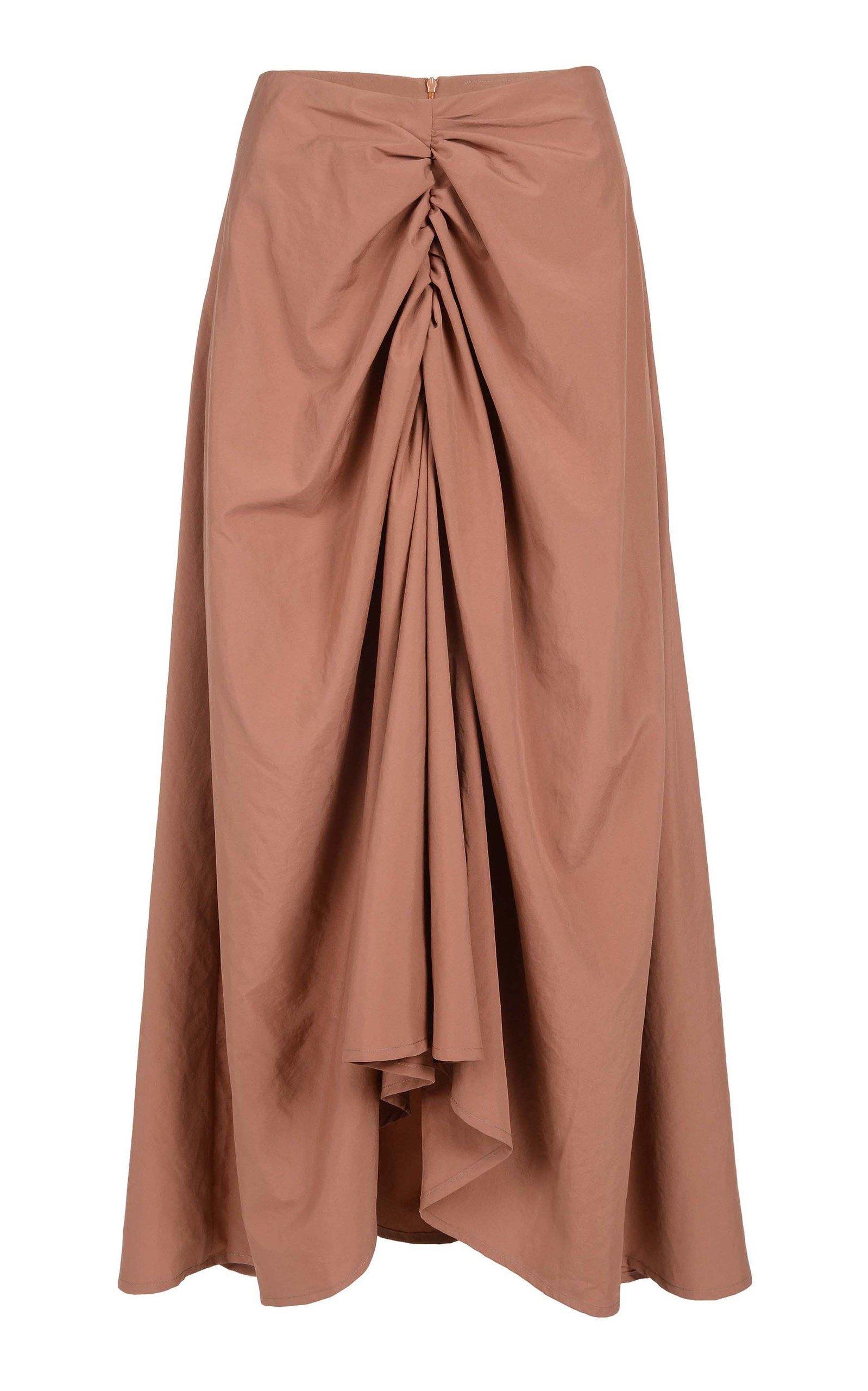 AMAL AL MULLA Ruched Taffeta Maxi Skirt in Brown