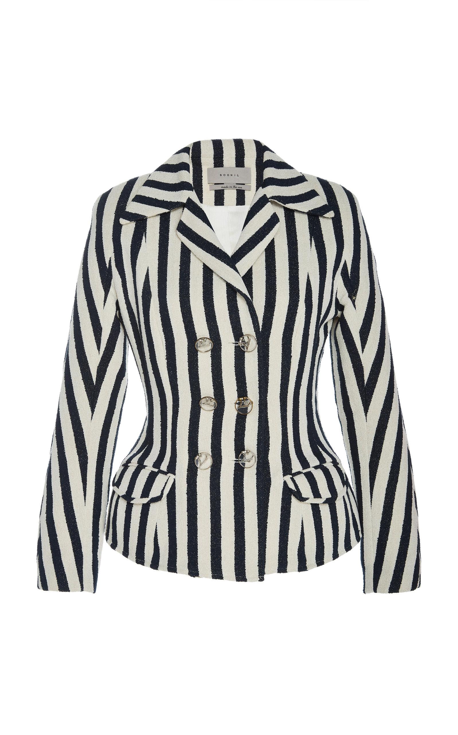 SOONIL   SOONIL Stripe Crepe Blazer Jacket   Goxip
