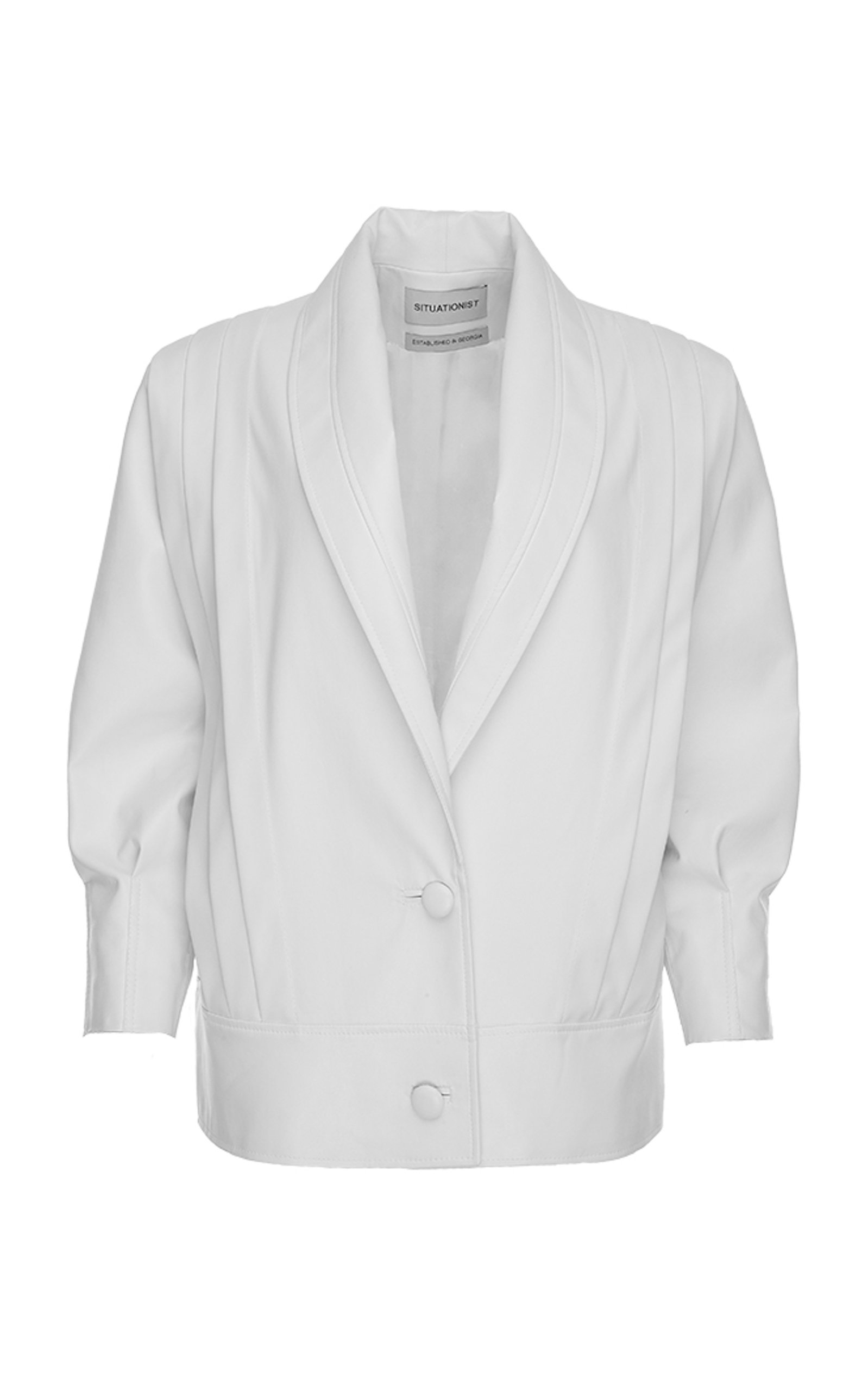 SITUATIONIST Pleated Leather Jacket in White