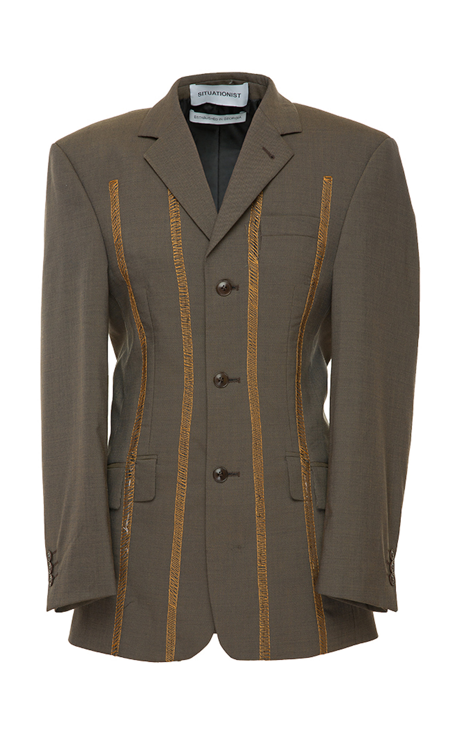 SITUATIONIST Oversized Classic Wool Blazer in Brown